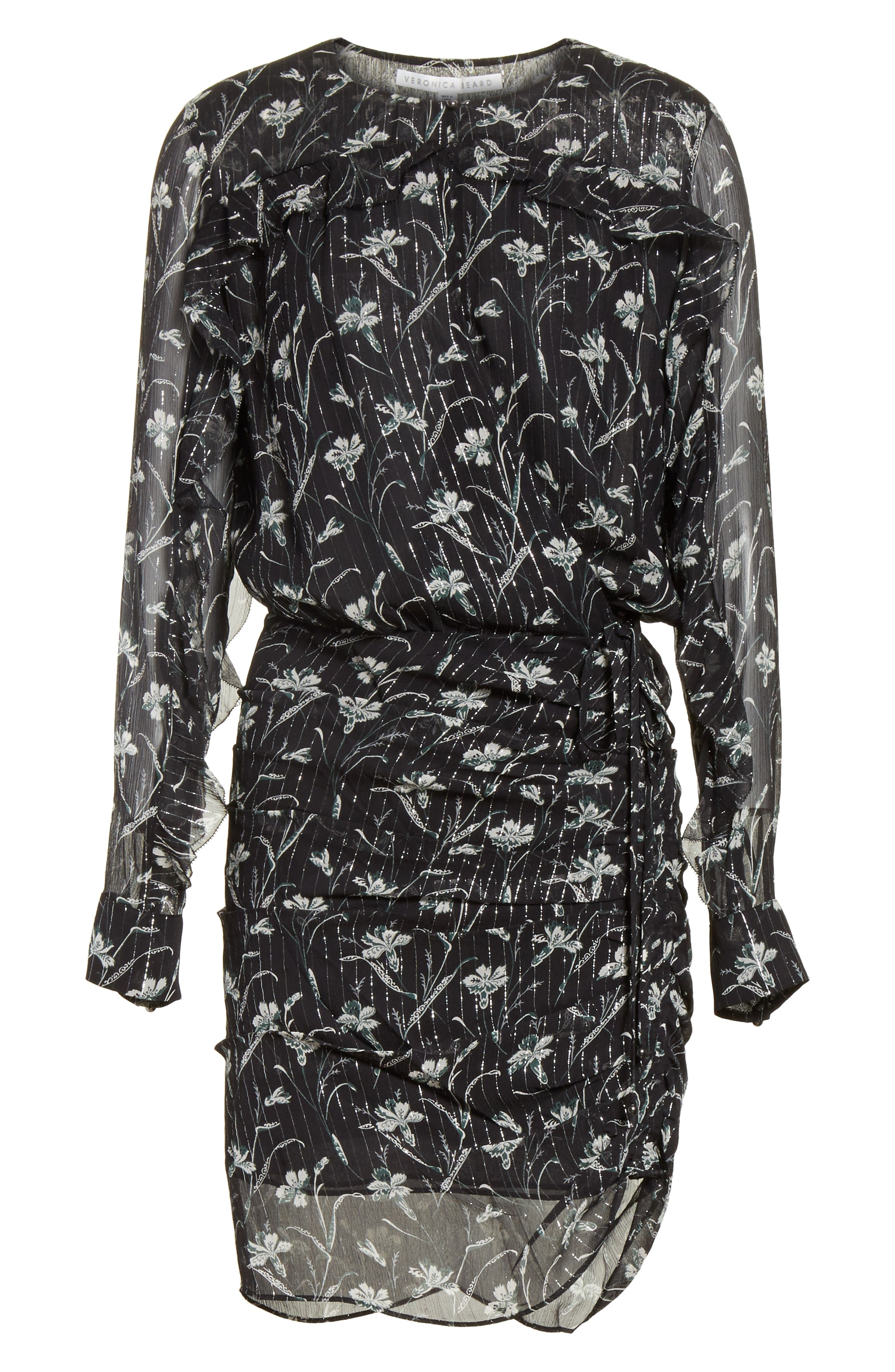 Fitzgerald Floral Print Metallic Chiffon Dress,                             Alternate thumbnail 6, color,                             301