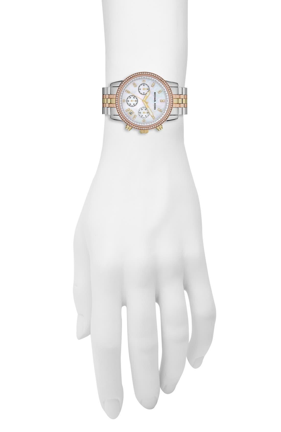 Michael Kors 'Ritz' Chronograph Bracelet Watch, 36mm,                             Alternate thumbnail 3, color,                             040