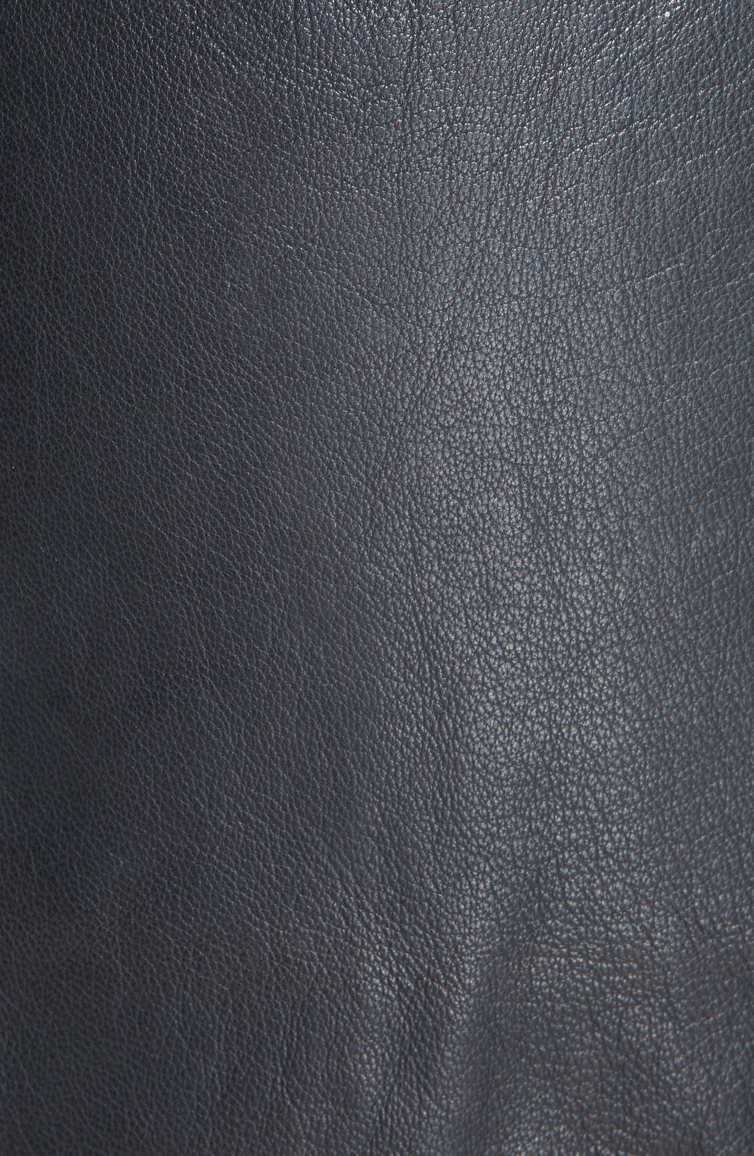 Magic Wrap Leather Skirt,                             Alternate thumbnail 5, color,                             BLACK