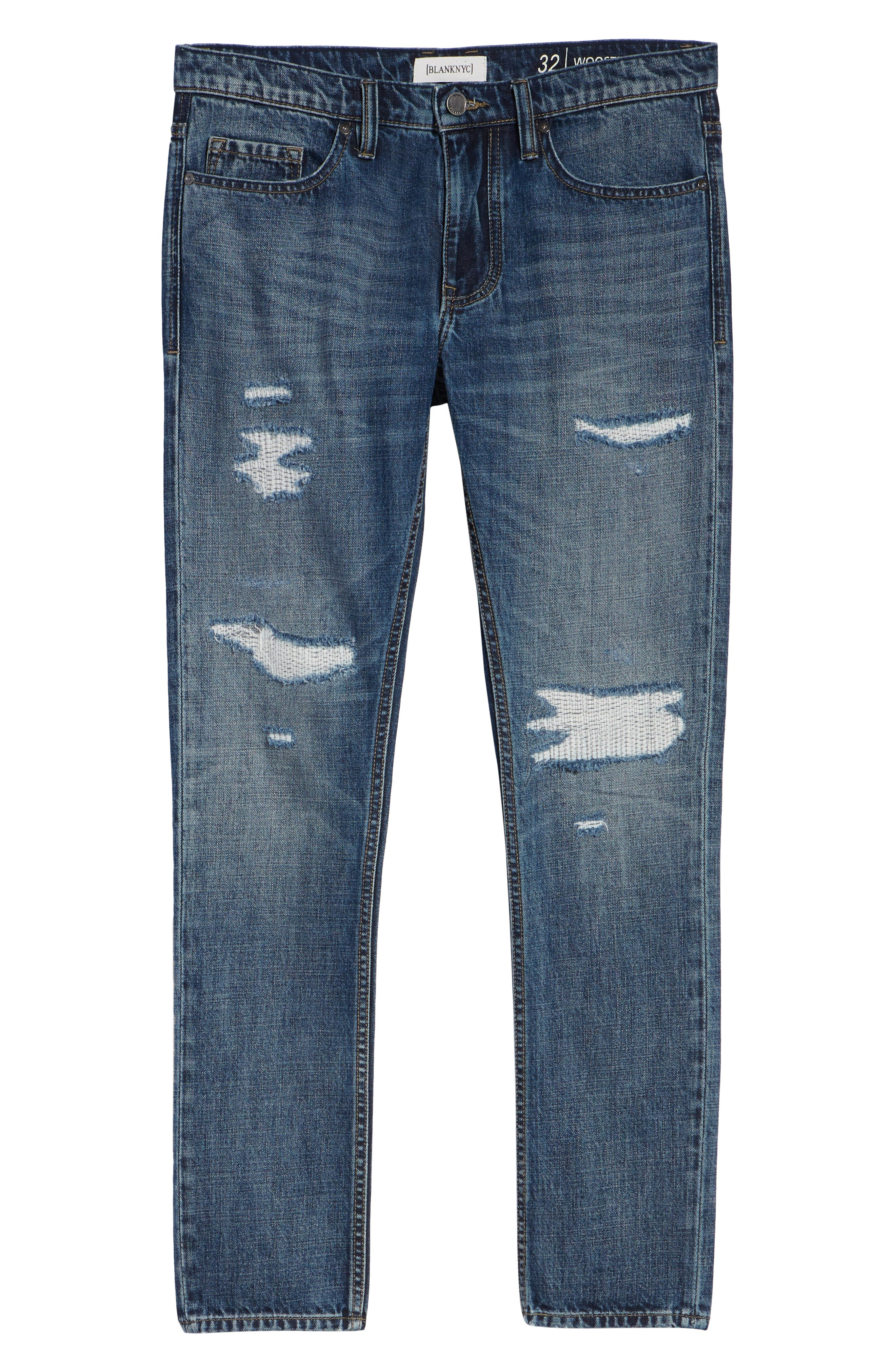 Wooster Slim Fit Distressed Selvedge Jeans,                             Alternate thumbnail 6, color,                             PERMISSIBLE HOT