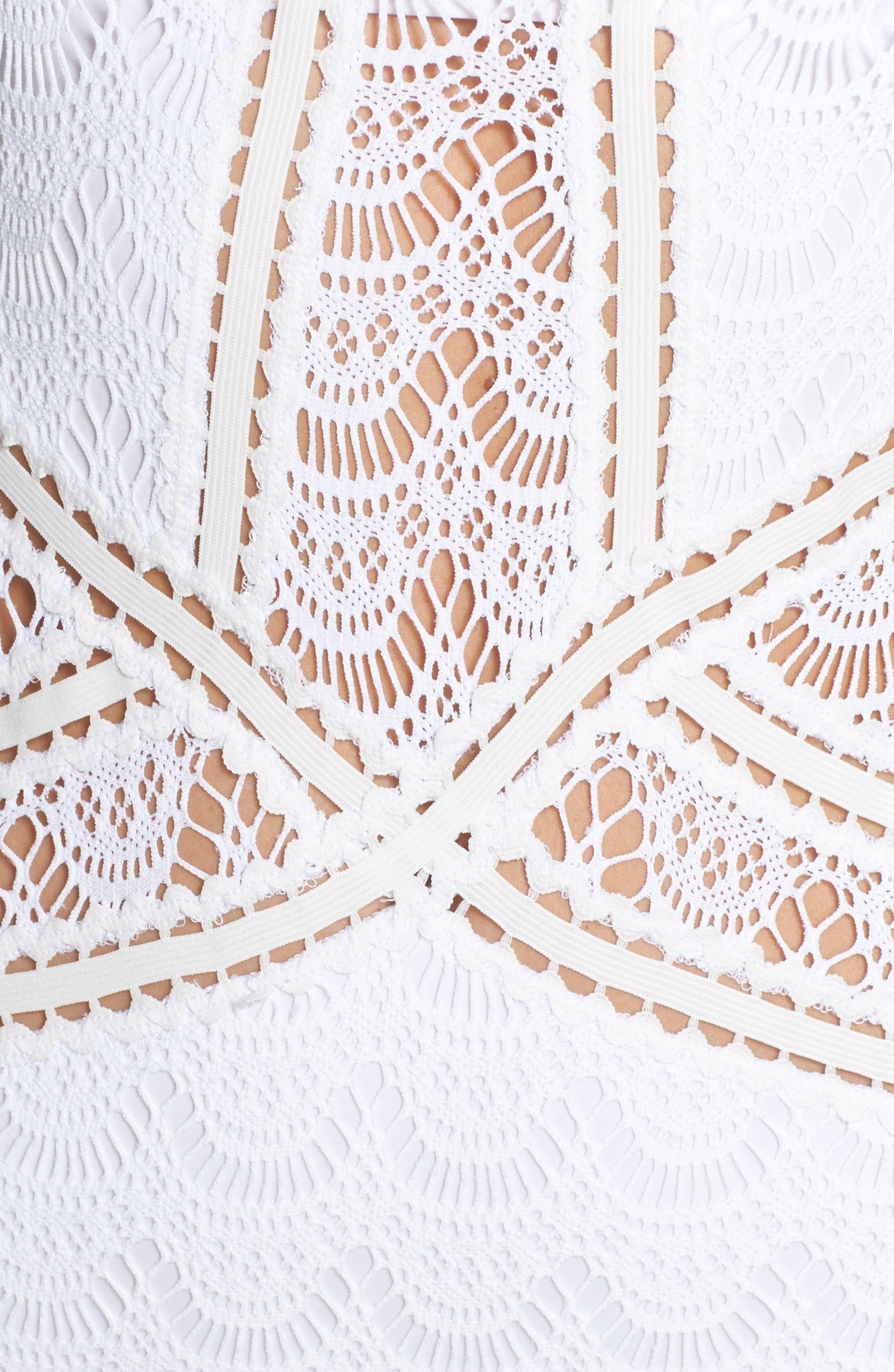 Crochet One-Piece Swimsuit,                             Alternate thumbnail 5, color,                             WHITE