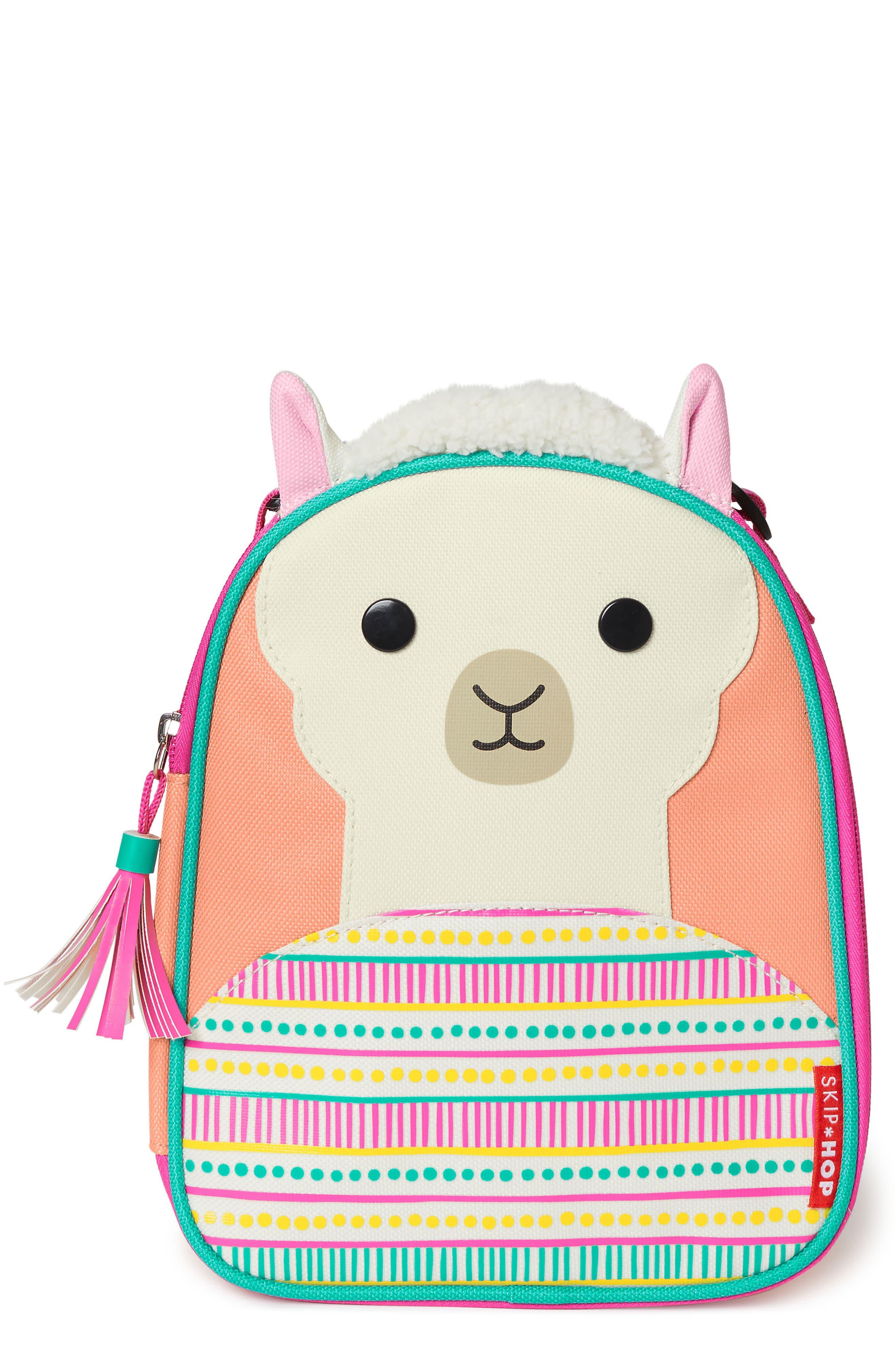 SKIP HOP,                             Insulated Llama Lunch Bag,                             Main thumbnail 1, color,                             PINK MULTI