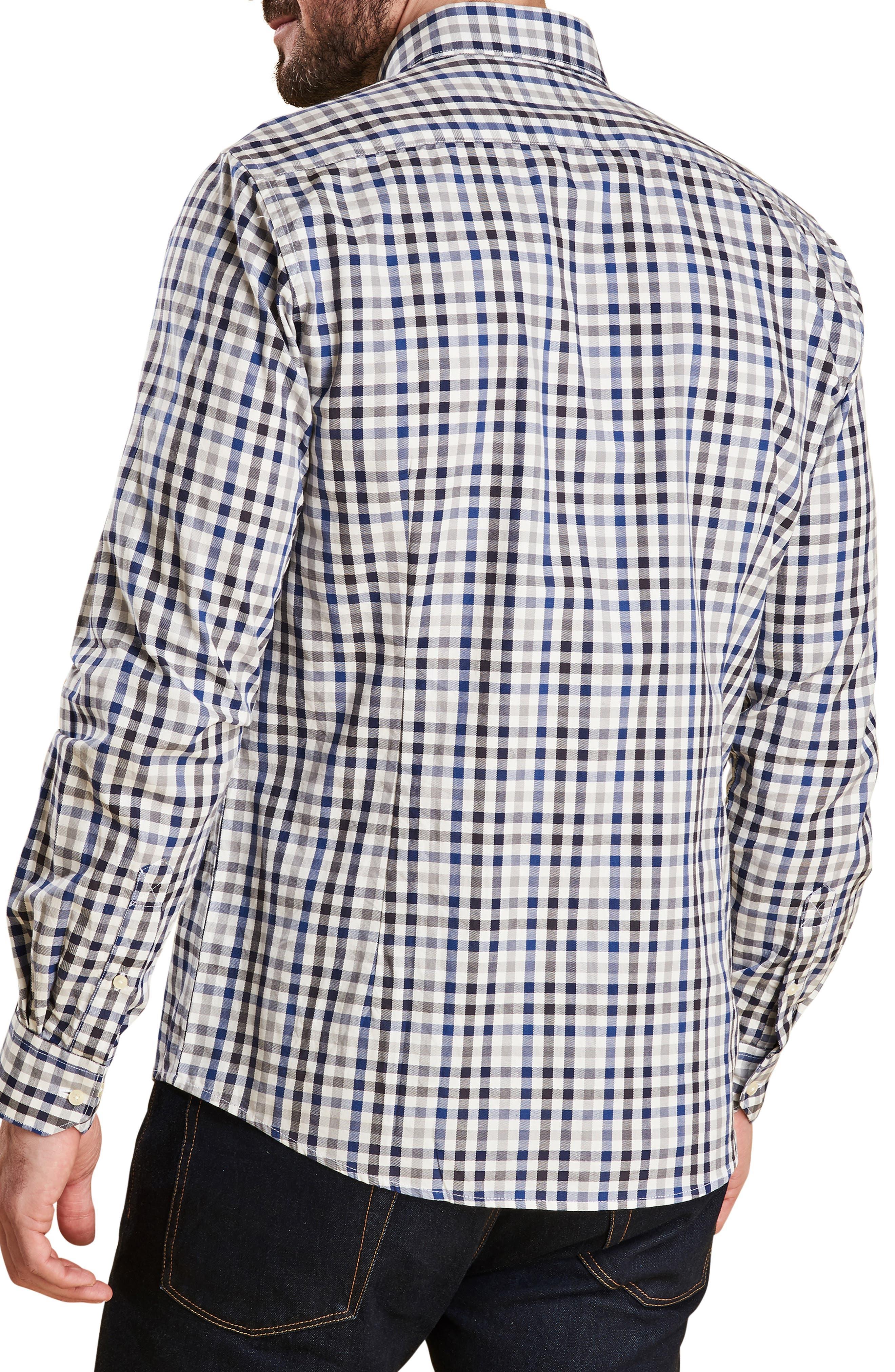 Bibury Tailored Fit Check Sport Shirt,                             Alternate thumbnail 3, color,                             GREY
