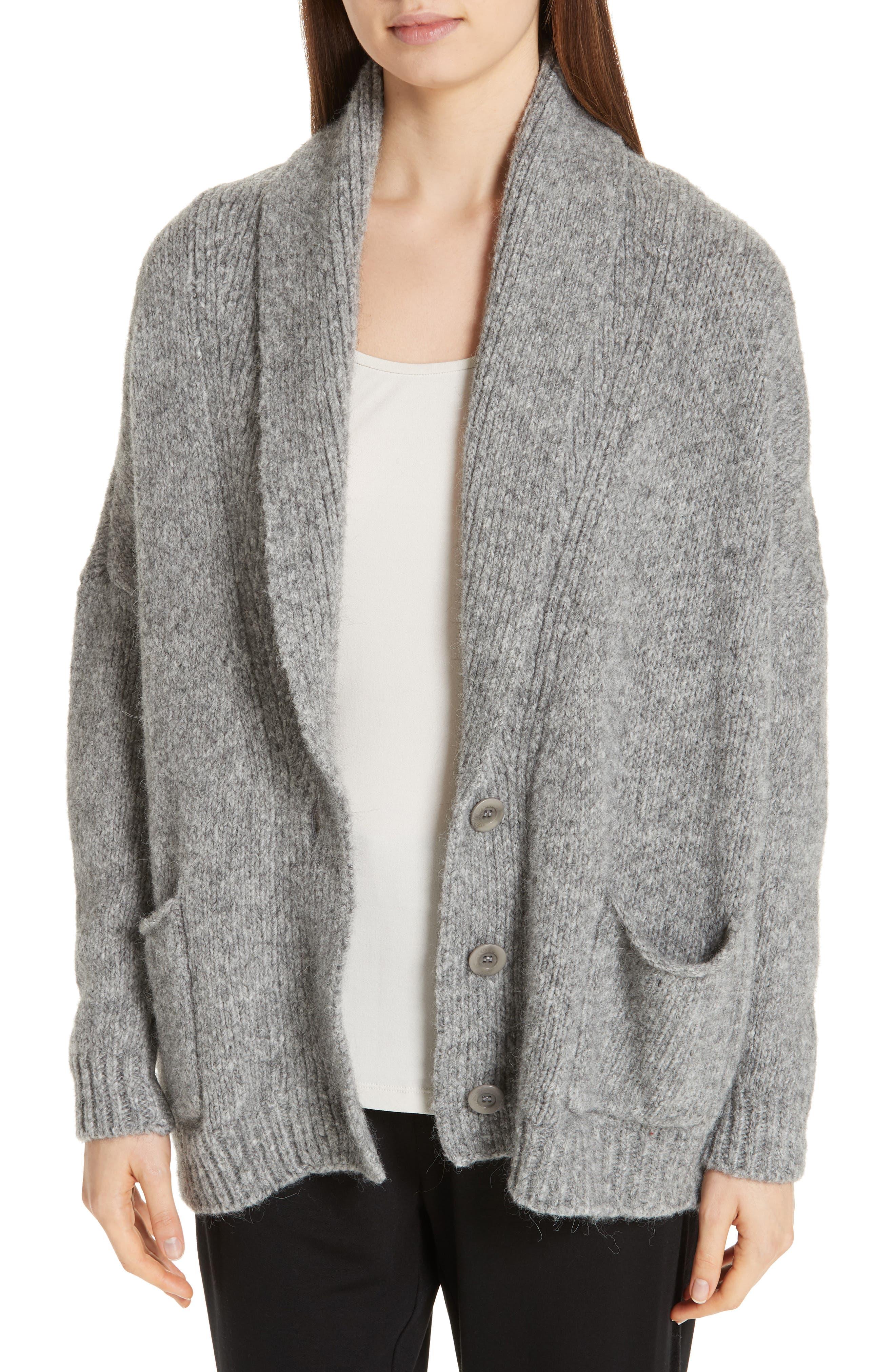 women's eileen fisher shawl collar cotton & alpaca blend cardigan