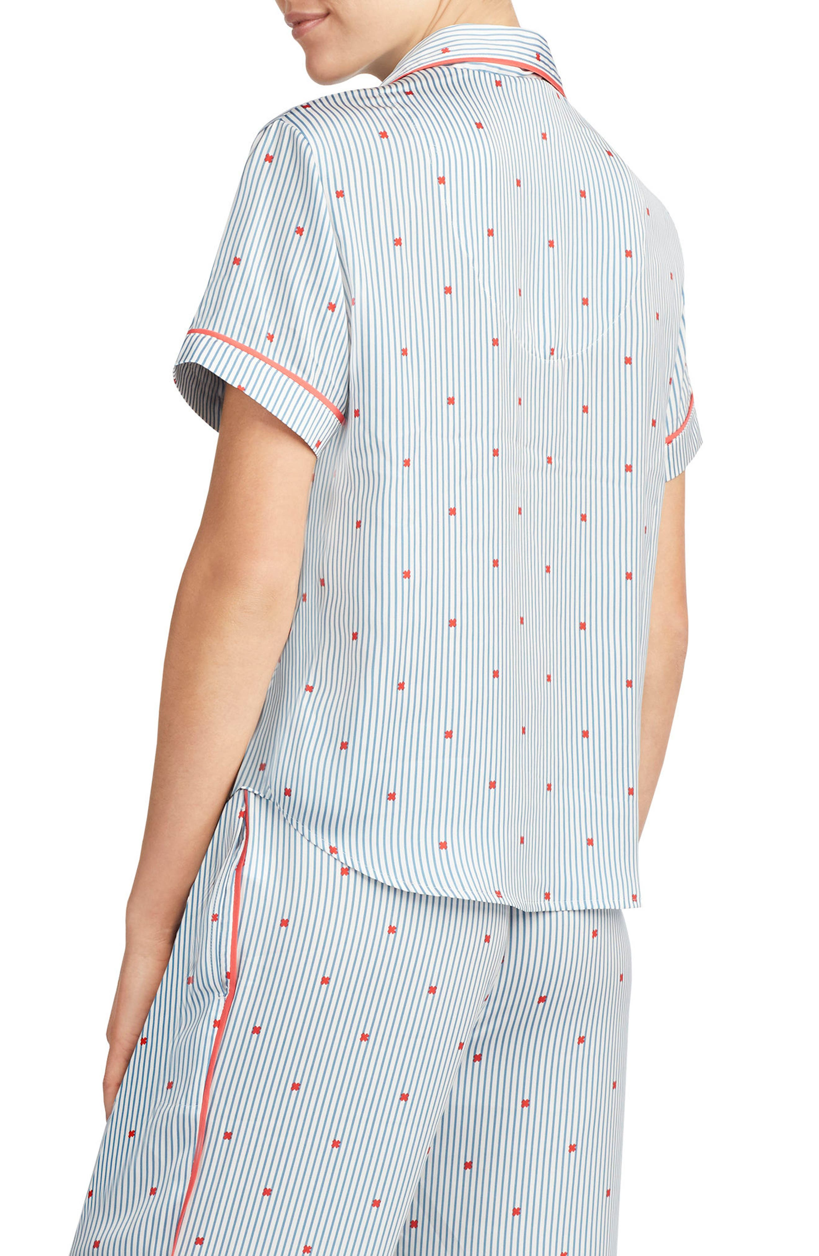 Satin Pajama Top,                             Alternate thumbnail 7, color,