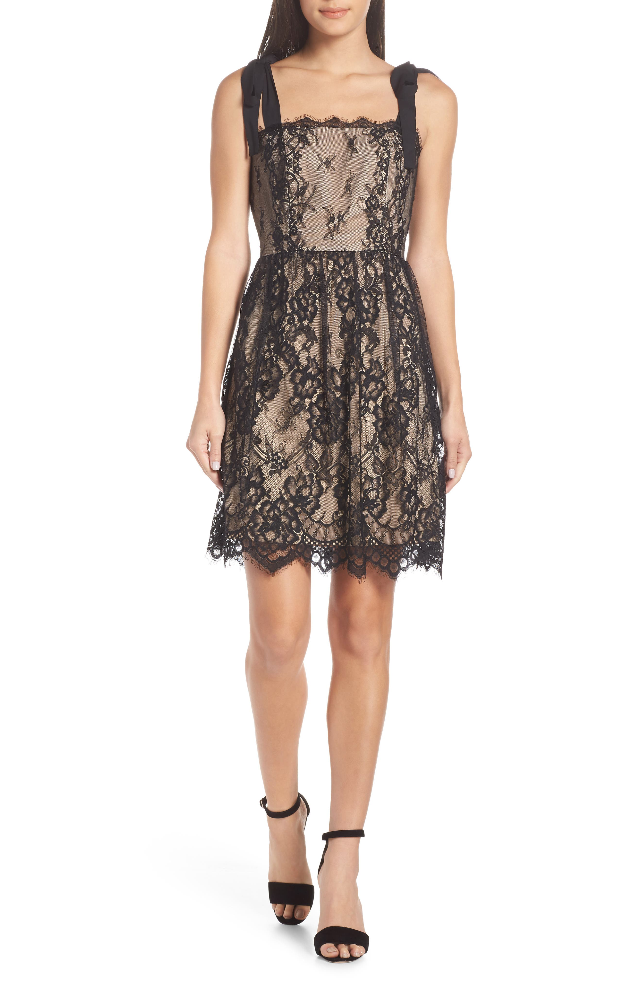 HEARTLOOM Emma Fit & Flare Lace Dress in Black