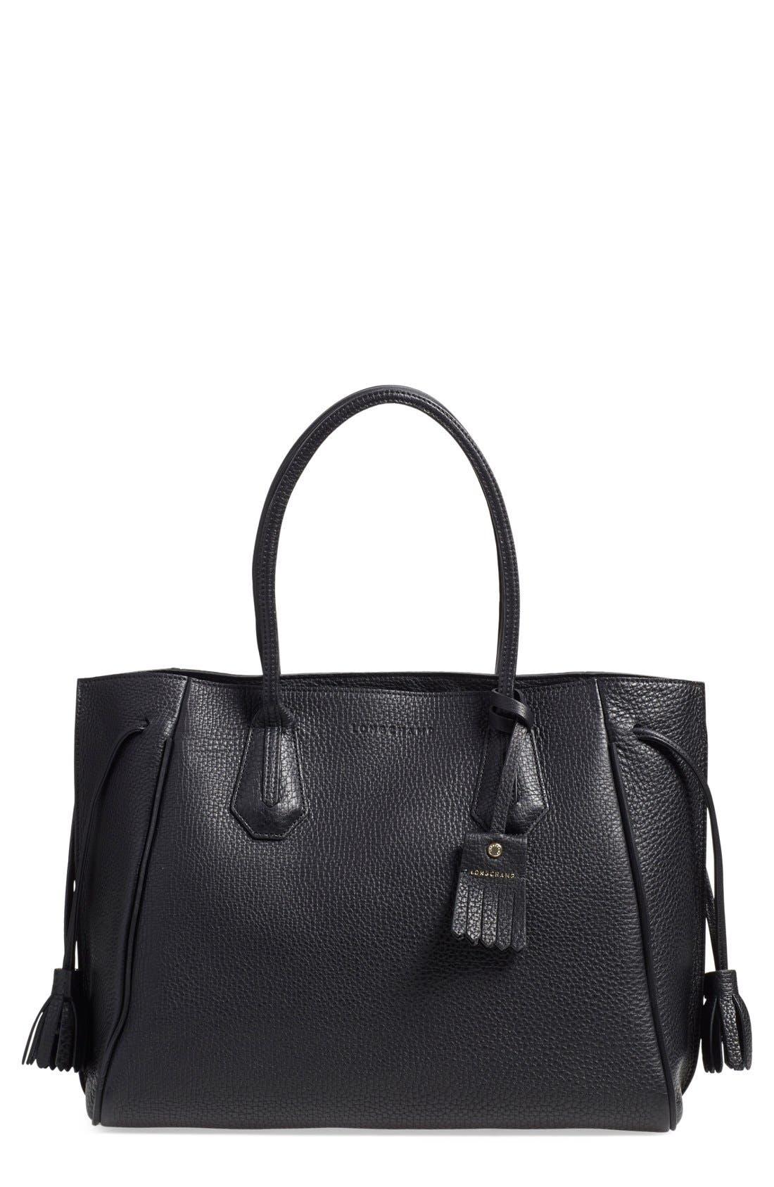'Penelope' Tassel Drawstring Leather Tote,                         Main,                         color, BLACK