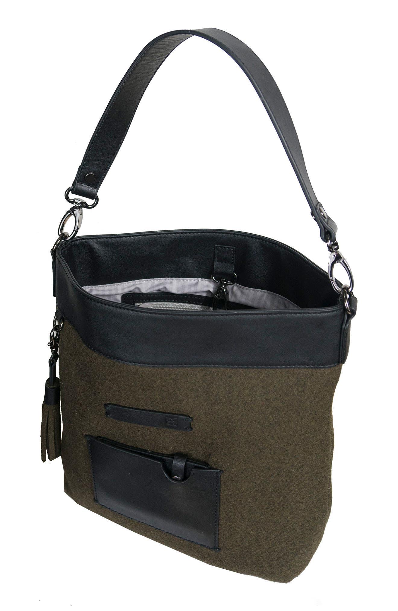 Boheme Wool & Leather Convertible Crossbody Bag,                             Alternate thumbnail 9, color,