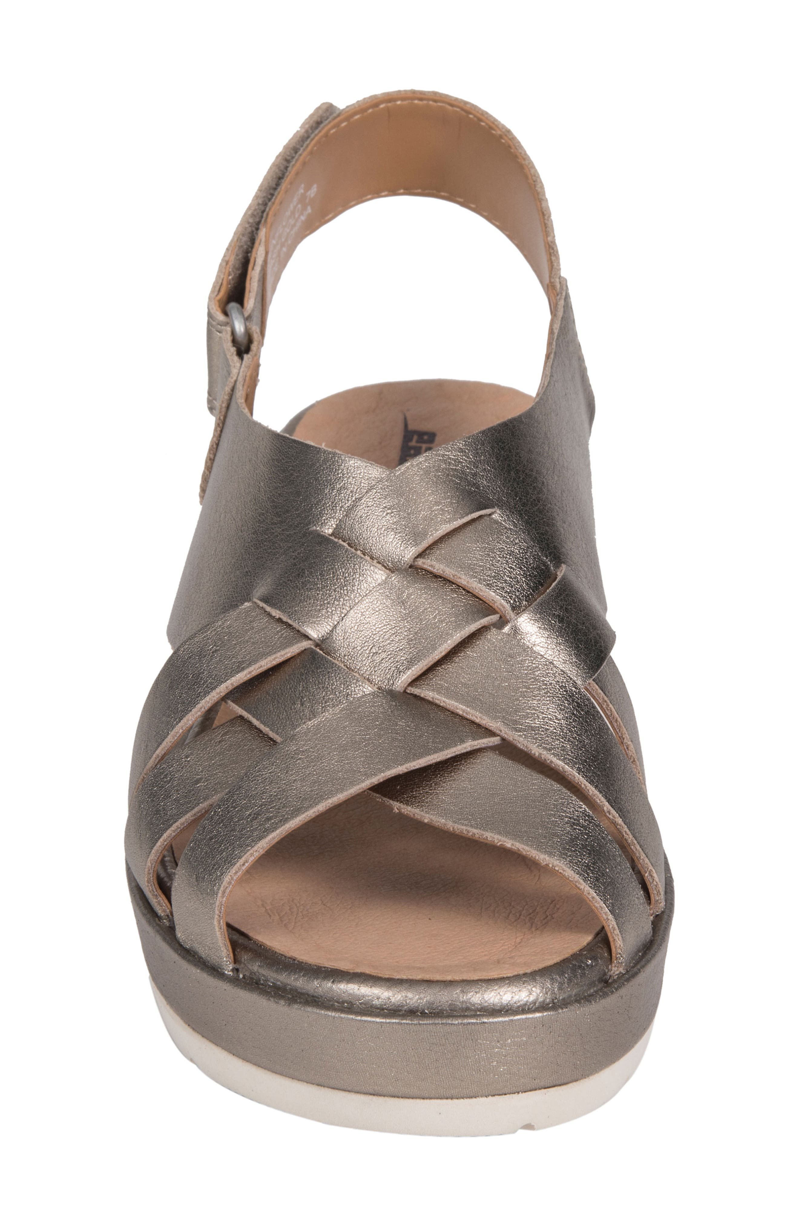Sunflower Wedge Sandal,                             Alternate thumbnail 4, color,                             WASHED GOLD METALLIC LEATHER
