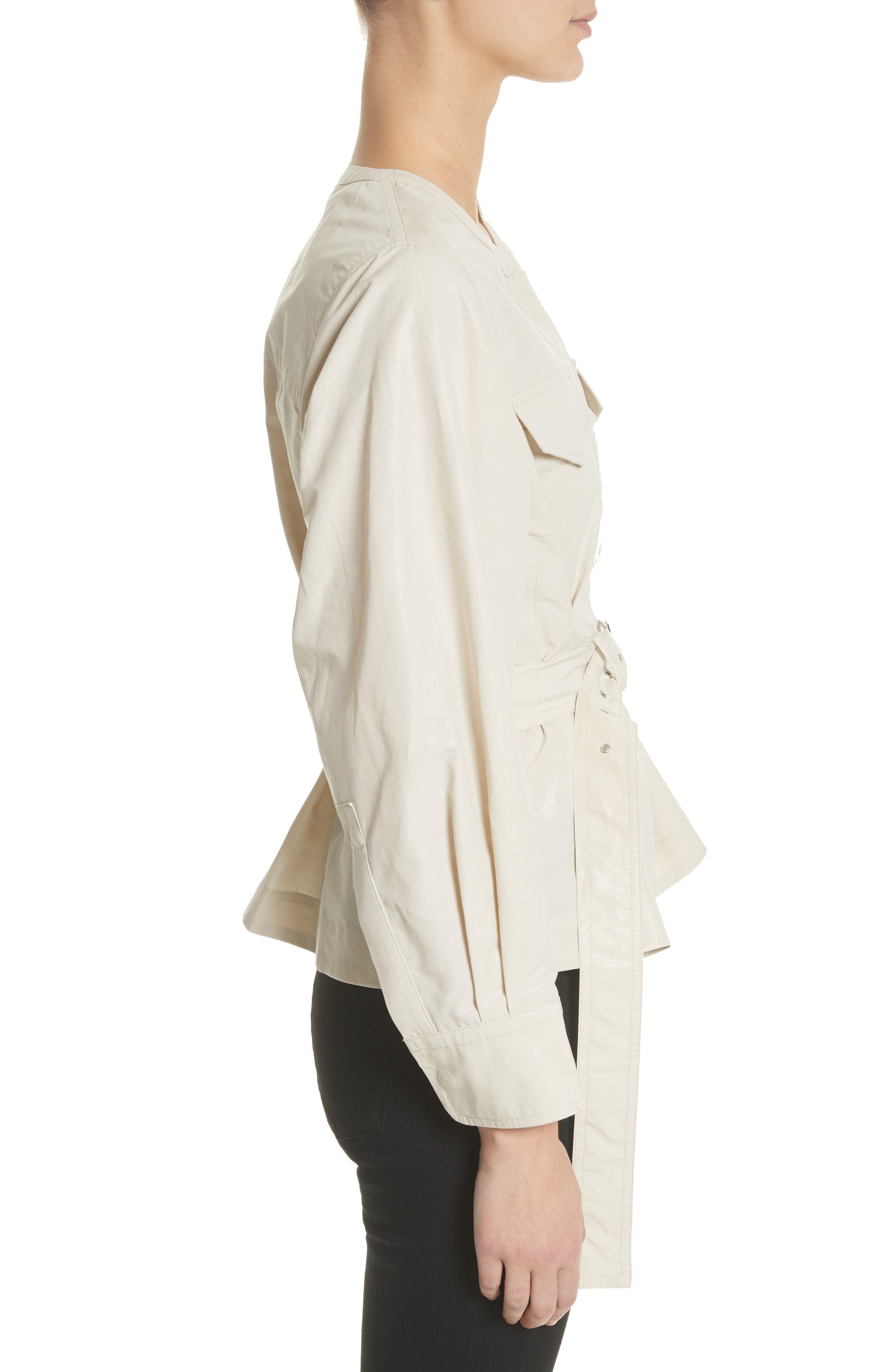Hacene Cotton & Linen Crop Jacket,                             Alternate thumbnail 3, color,                             250