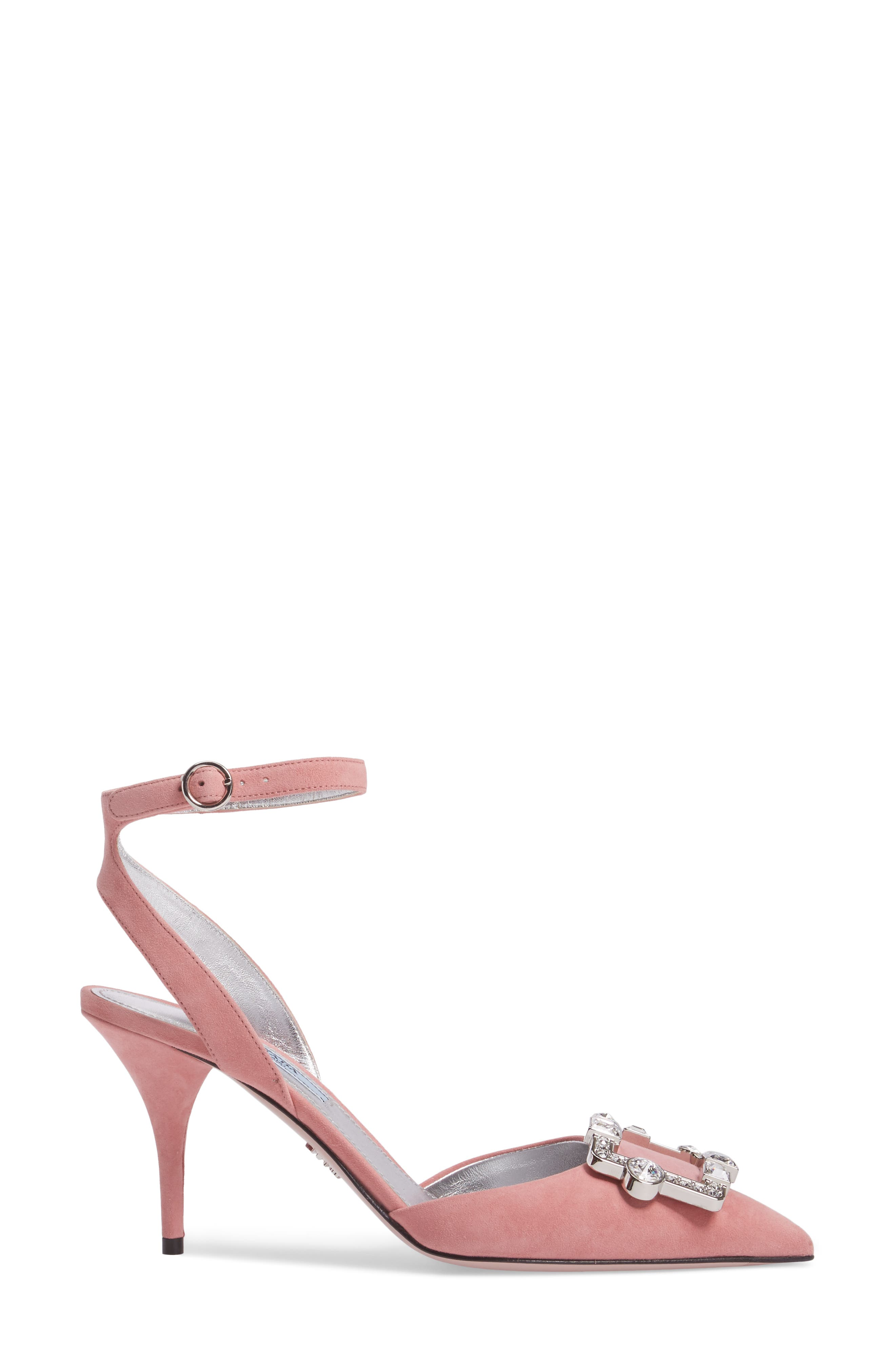 Crystal Brooch Ankle Strap Pump,                             Alternate thumbnail 3, color,                             669