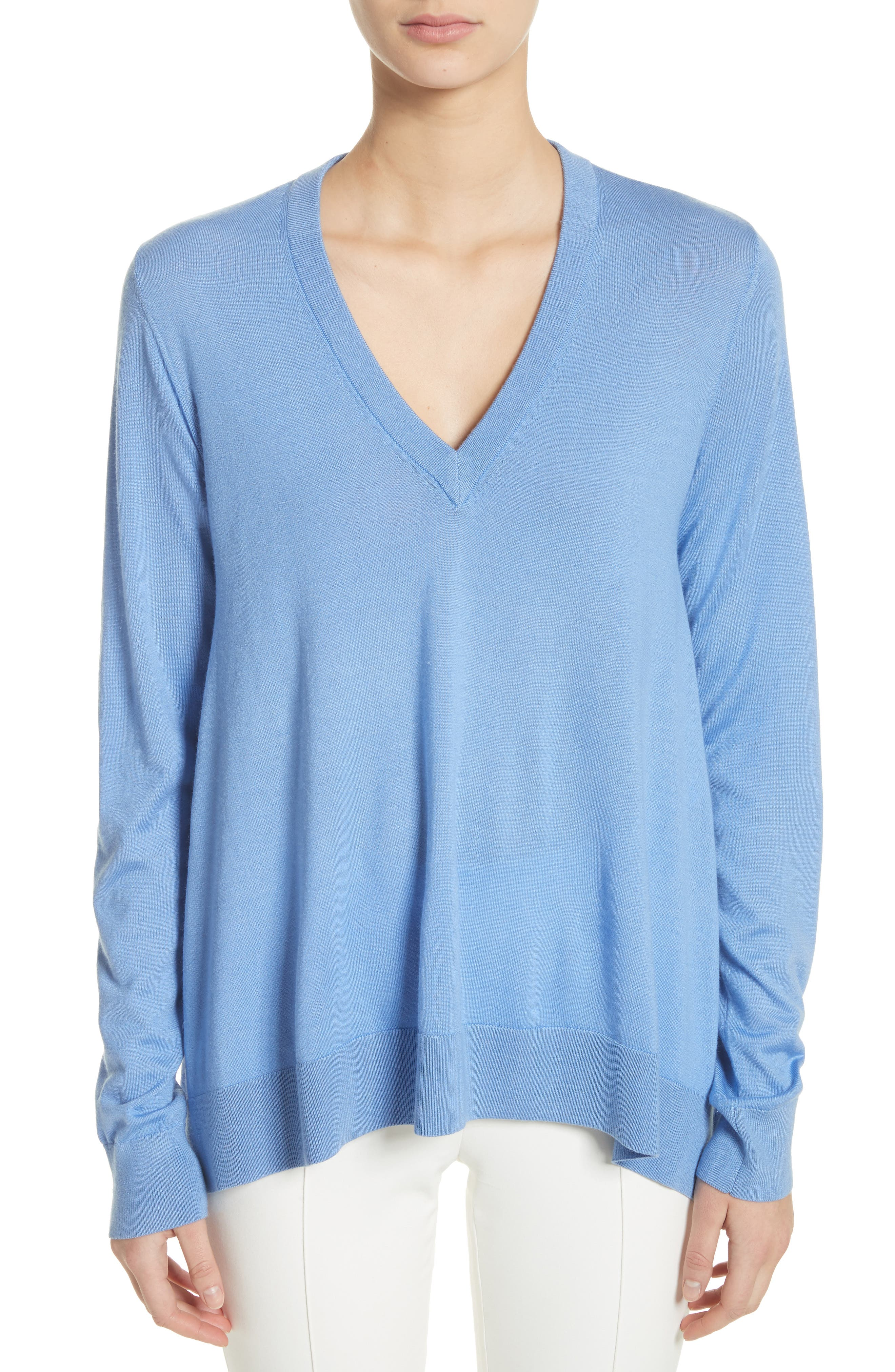 Draped Wool, Silk & Cashmere Sweater,                             Main thumbnail 2, color,