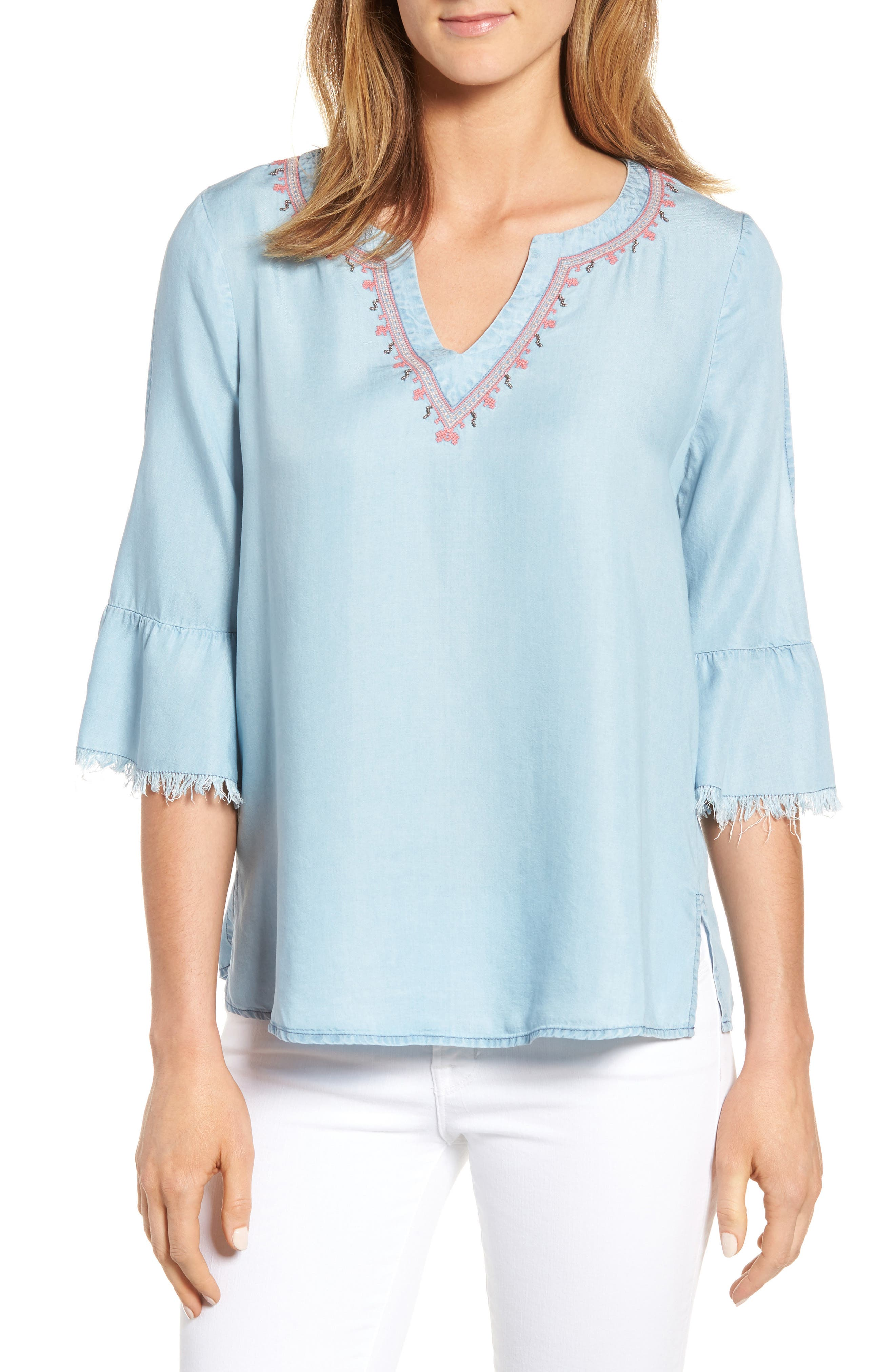 Embellished Bell Sleeve Chambray Top,                             Main thumbnail 1, color,                             400