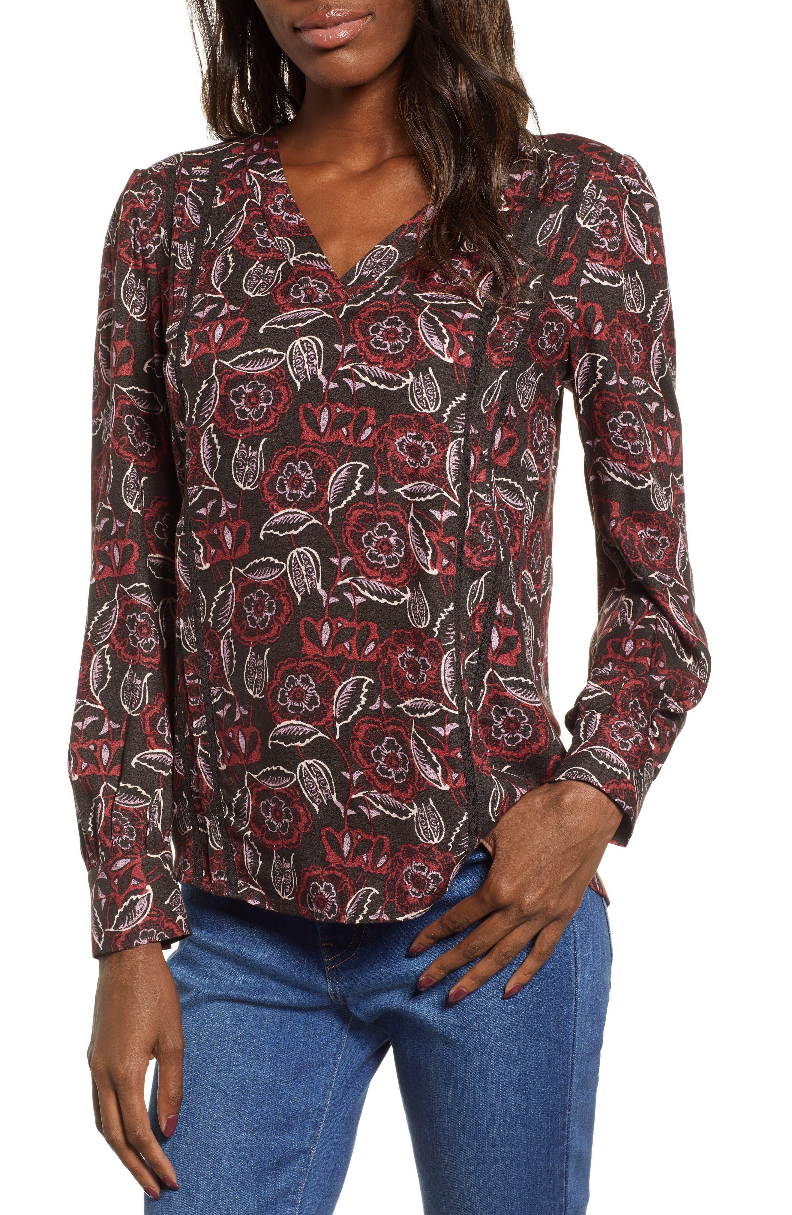 HINGE Lace Stripe V-Neck Blouse, Main, color, 002