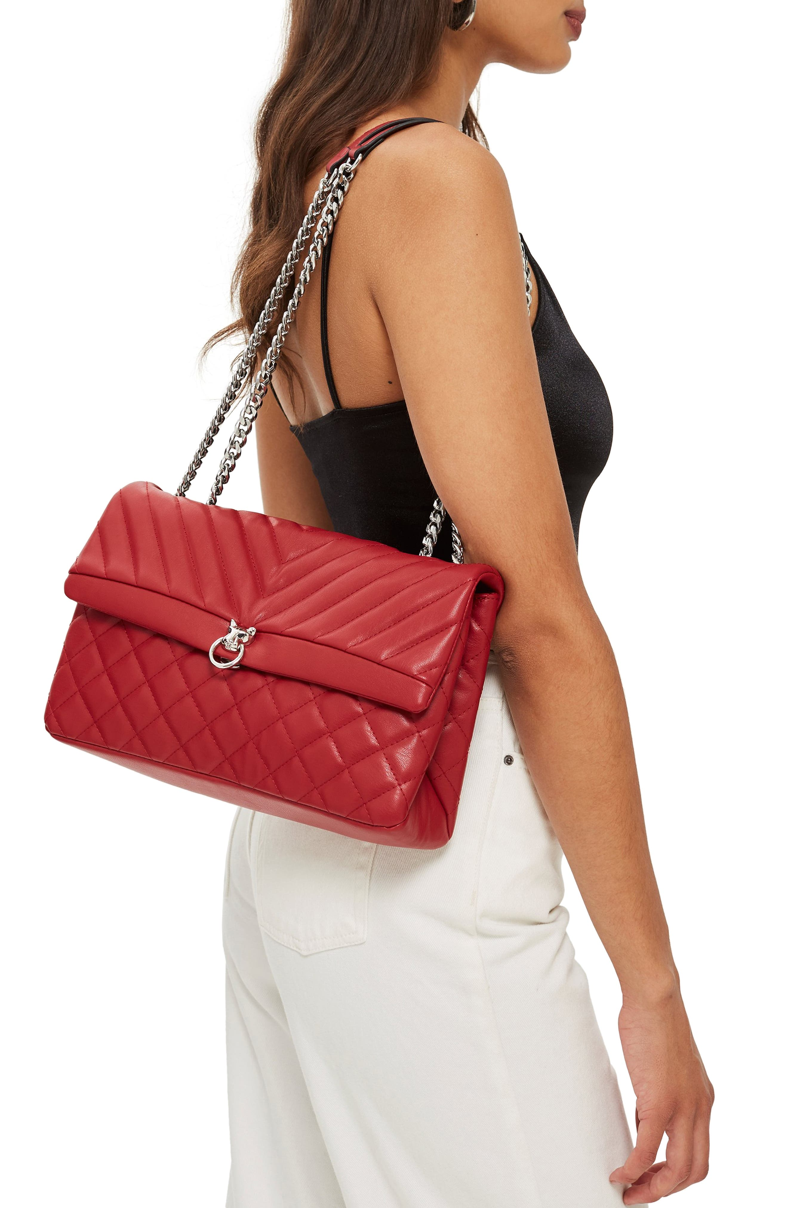 Panther Quilted Faux Leather Shoulder Bag,                             Alternate thumbnail 2, color,                             RED MULTI