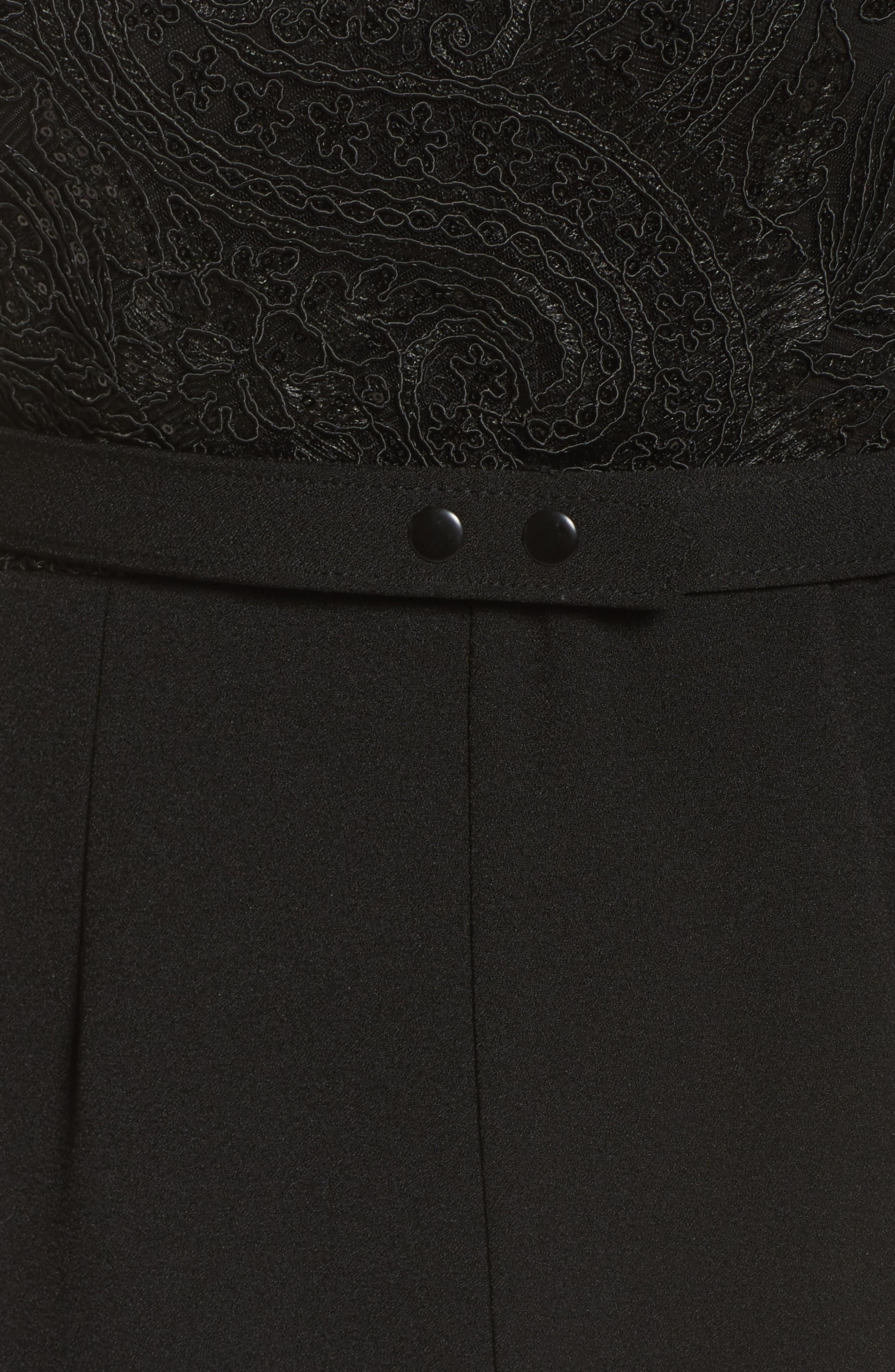 Lace Neck Crepe Jumpsuit,                             Alternate thumbnail 5, color,