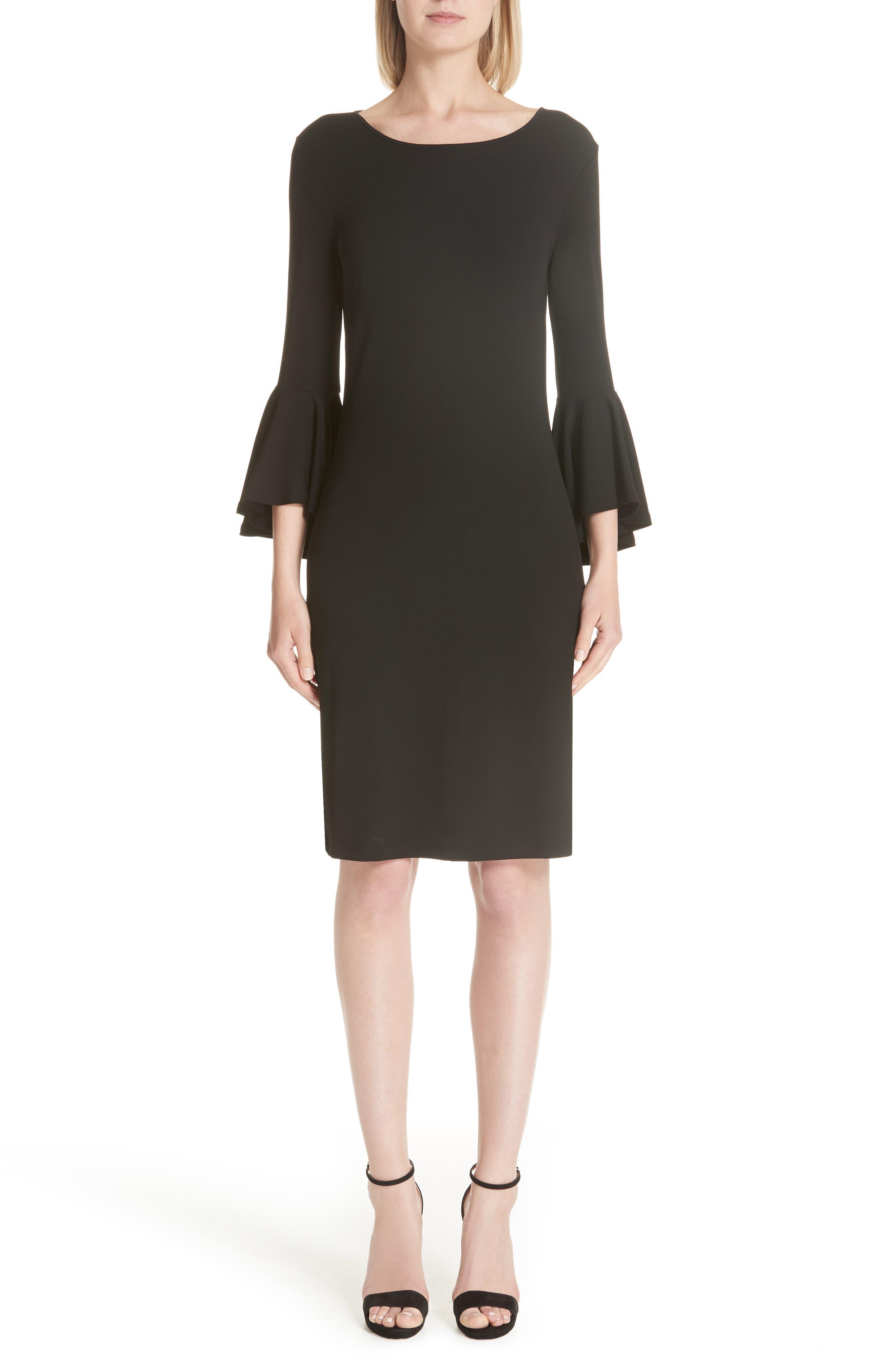 Cascade Sleeve Sheath Dress,                             Main thumbnail 1, color,                             001