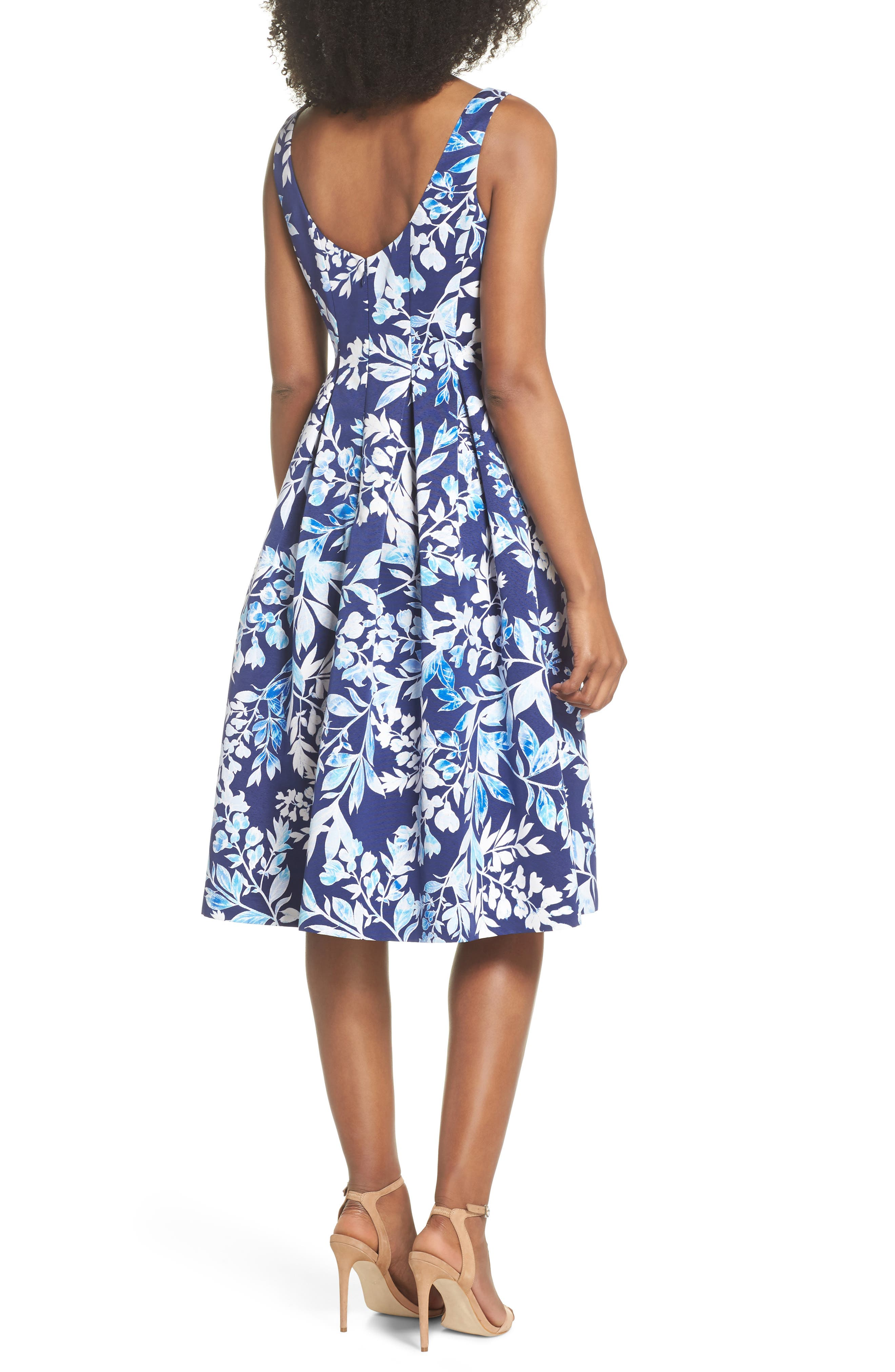 Seamed Bodice Fit & Flare Dress,                             Alternate thumbnail 2, color,