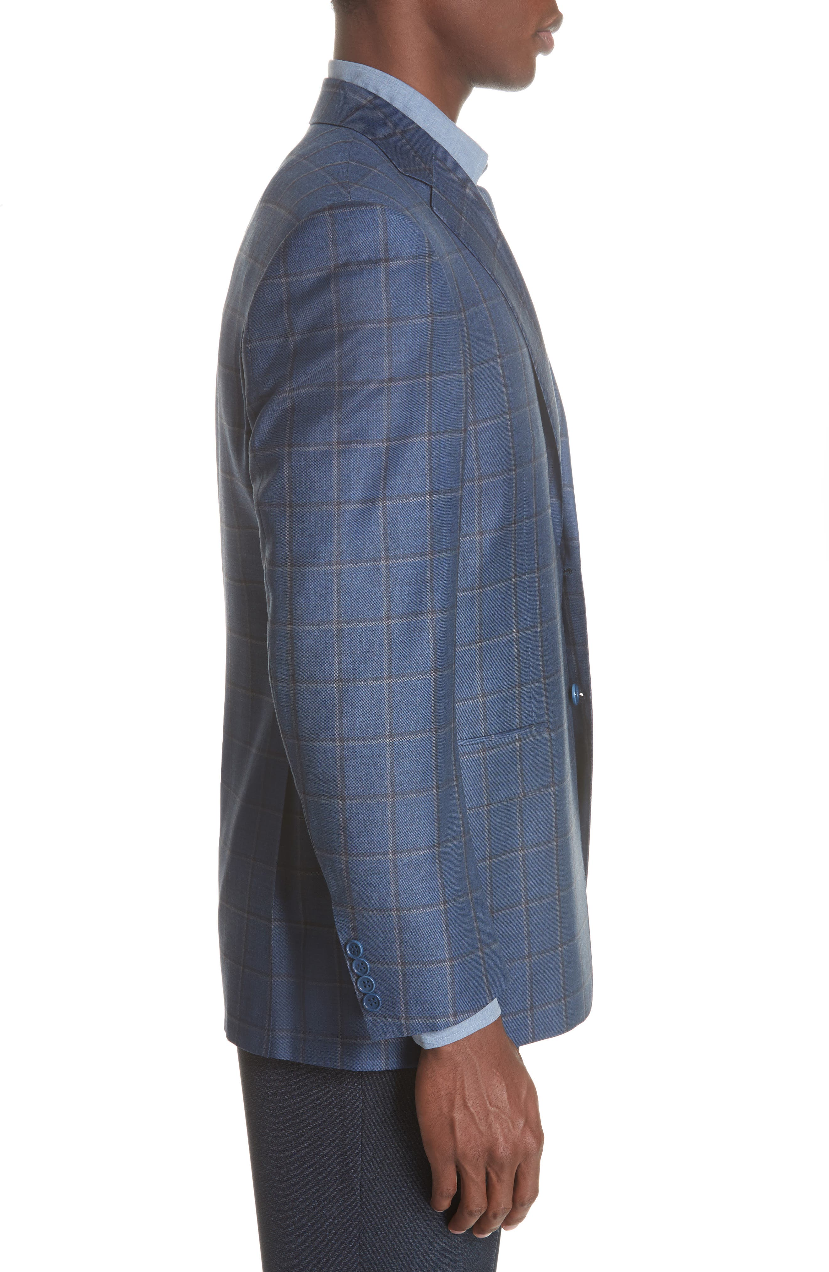 Classic Fit Windowpane Wool Sport Coat,                             Alternate thumbnail 3, color,                             BLUE