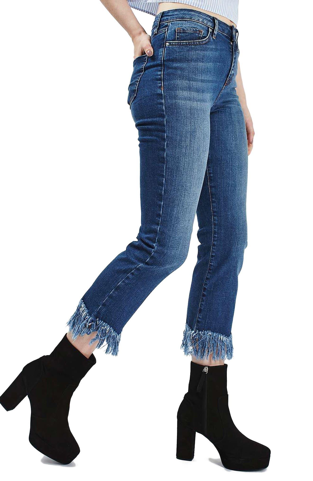 Dree Fringe Crop Jeans,                         Main,                         color, 401
