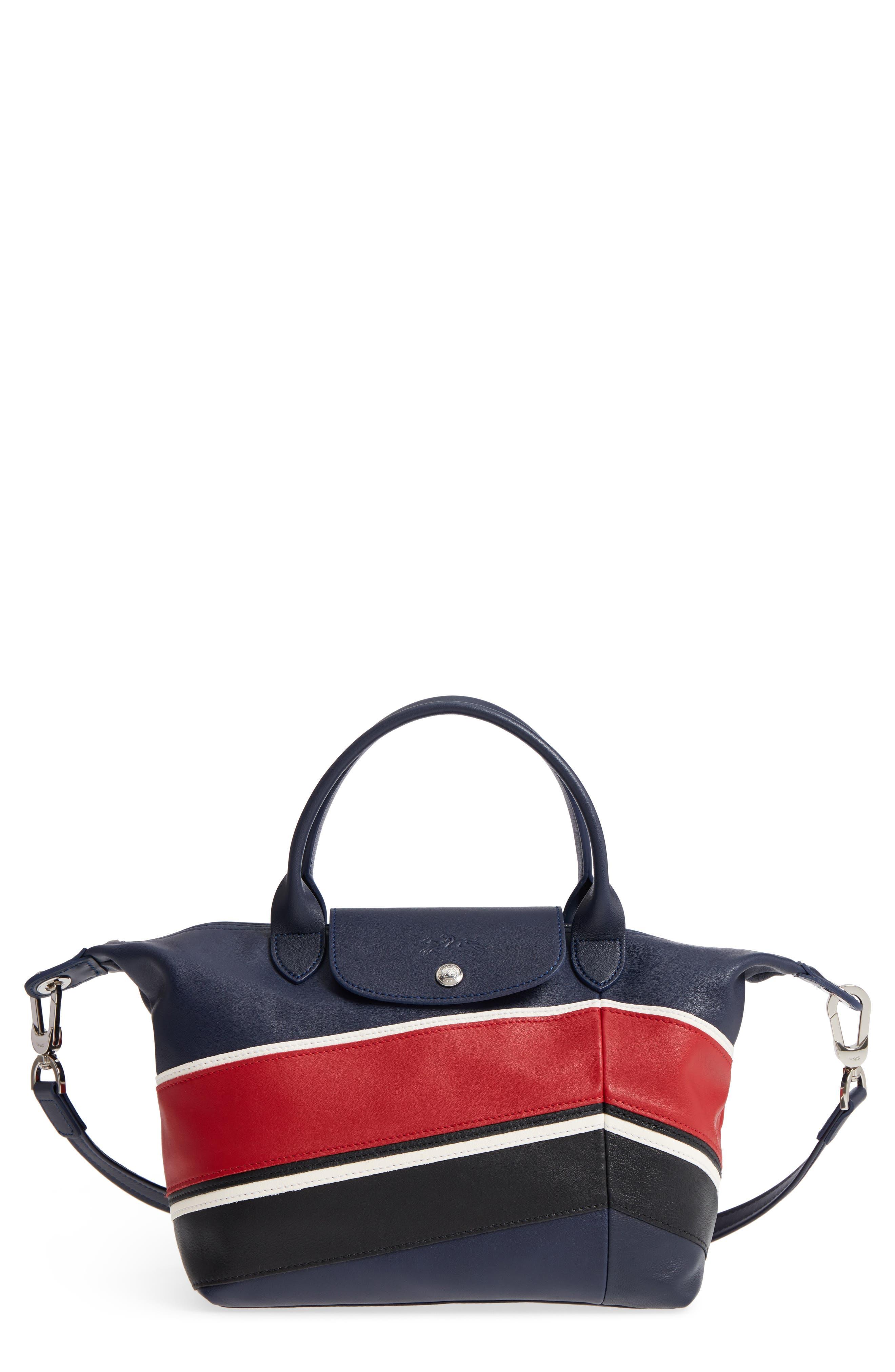 Small Le Pliage Cuir - Chevron Top Handle Leather Tote,                         Main,                         color, 622