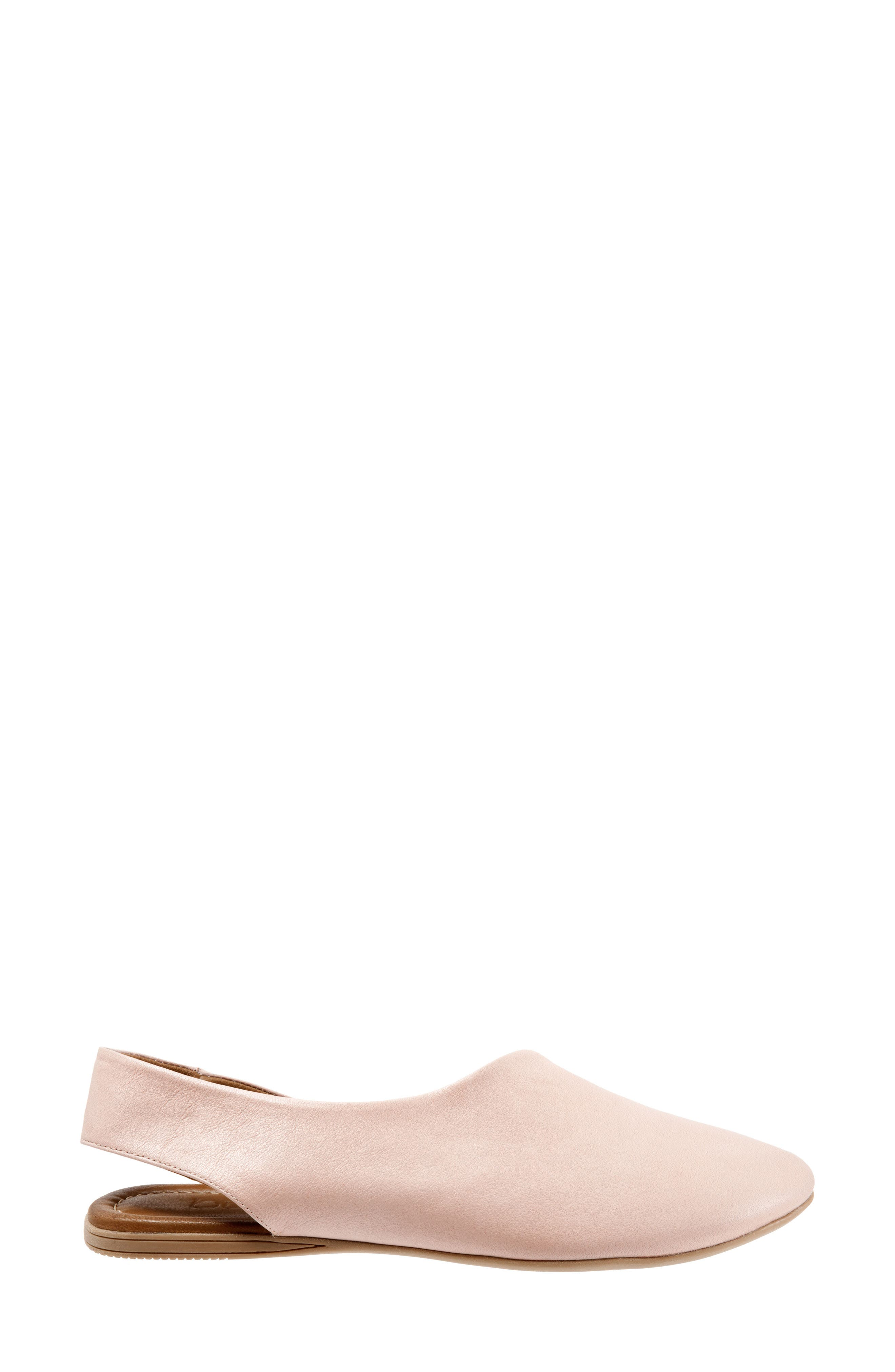 Keep Slingback Flat,                             Alternate thumbnail 3, color,                             PALE PINK LEATHER
