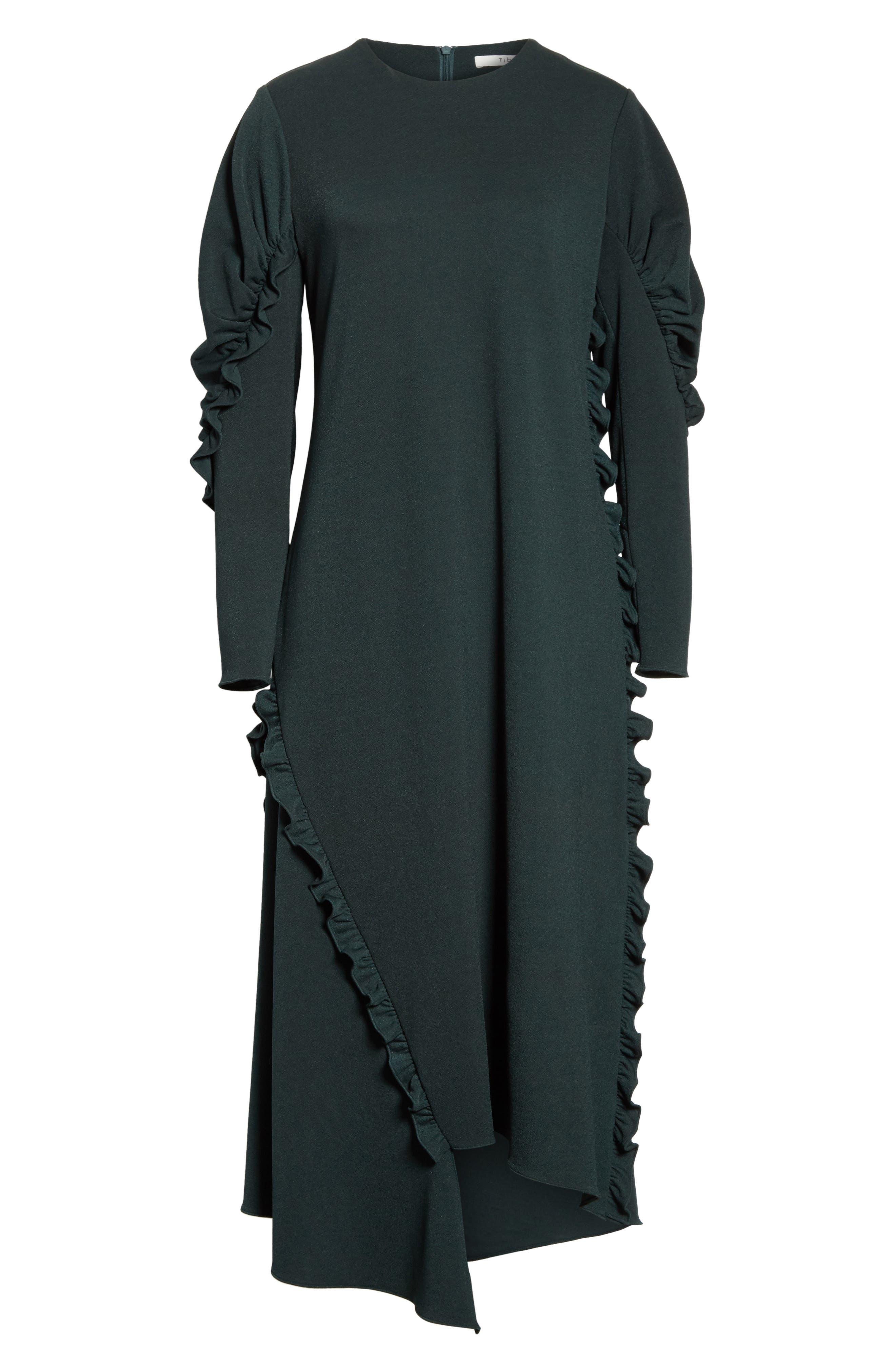 Ruffled Crepe Knit Midi Dress,                             Alternate thumbnail 6, color,                             303