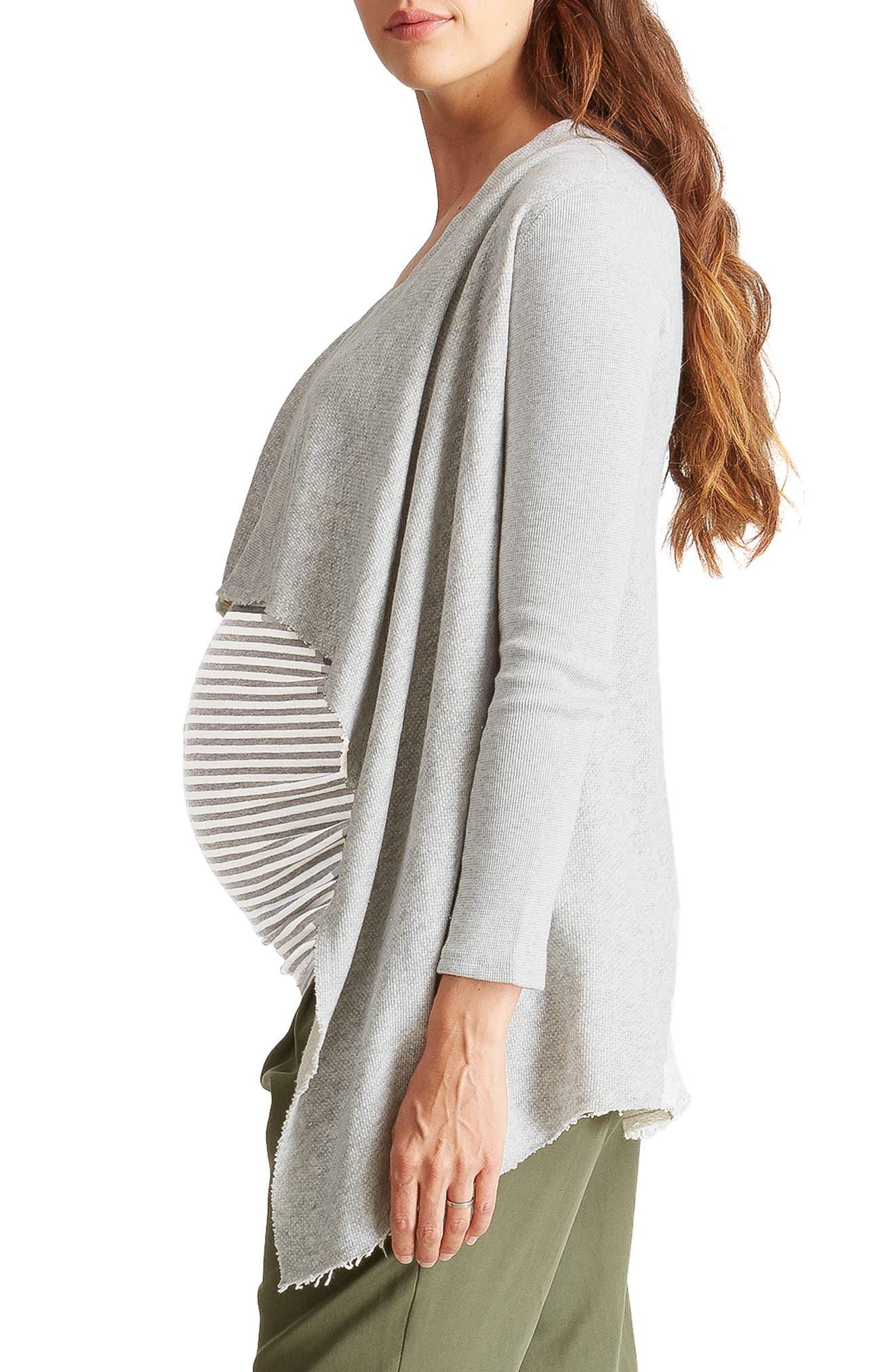 Drape Front Maternity Cardigan,                             Alternate thumbnail 3, color,                             LIGHT HEATHER GREY