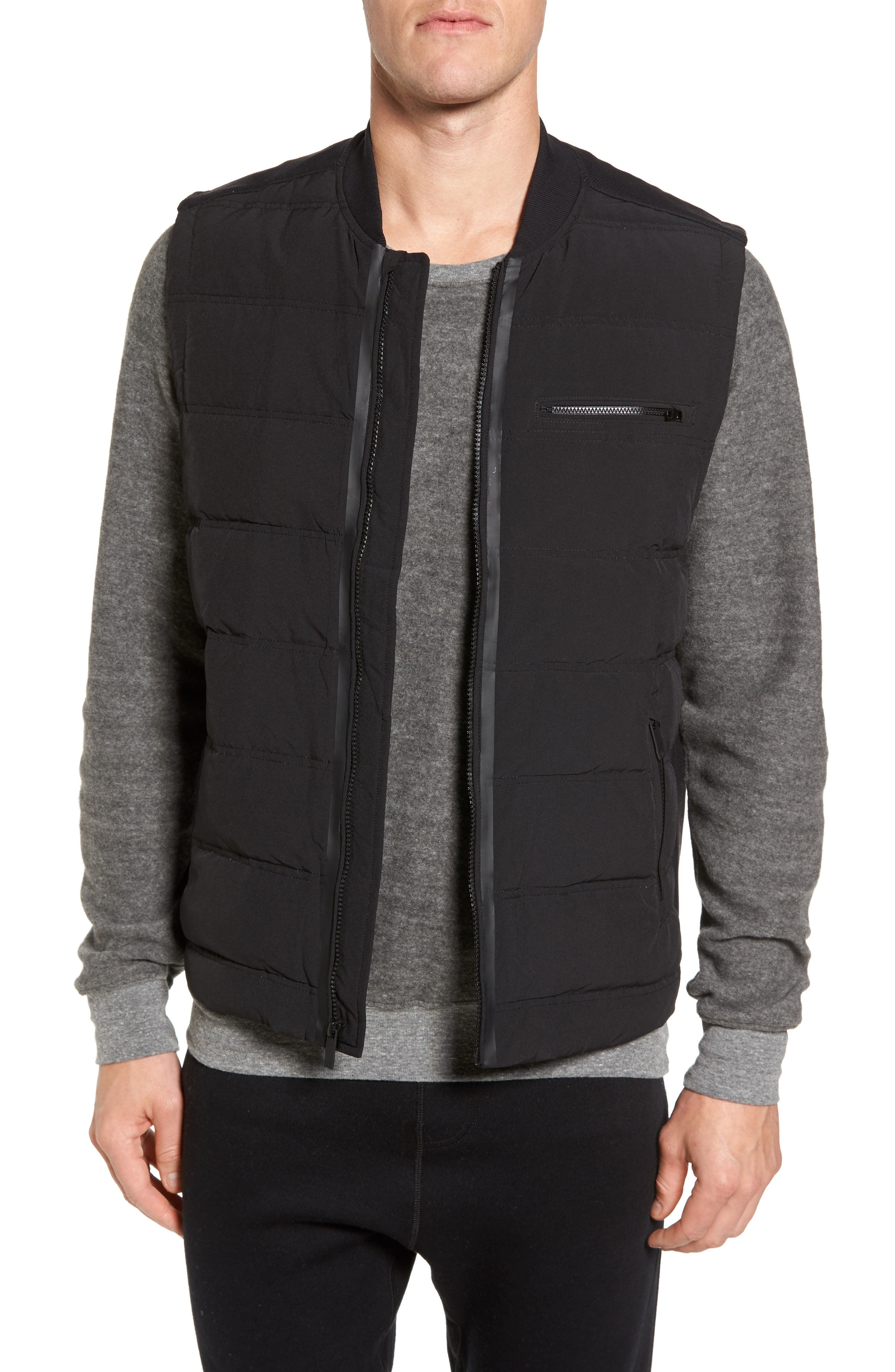 Mantra Relaxed Down Vest,                         Main,                         color, BLACK