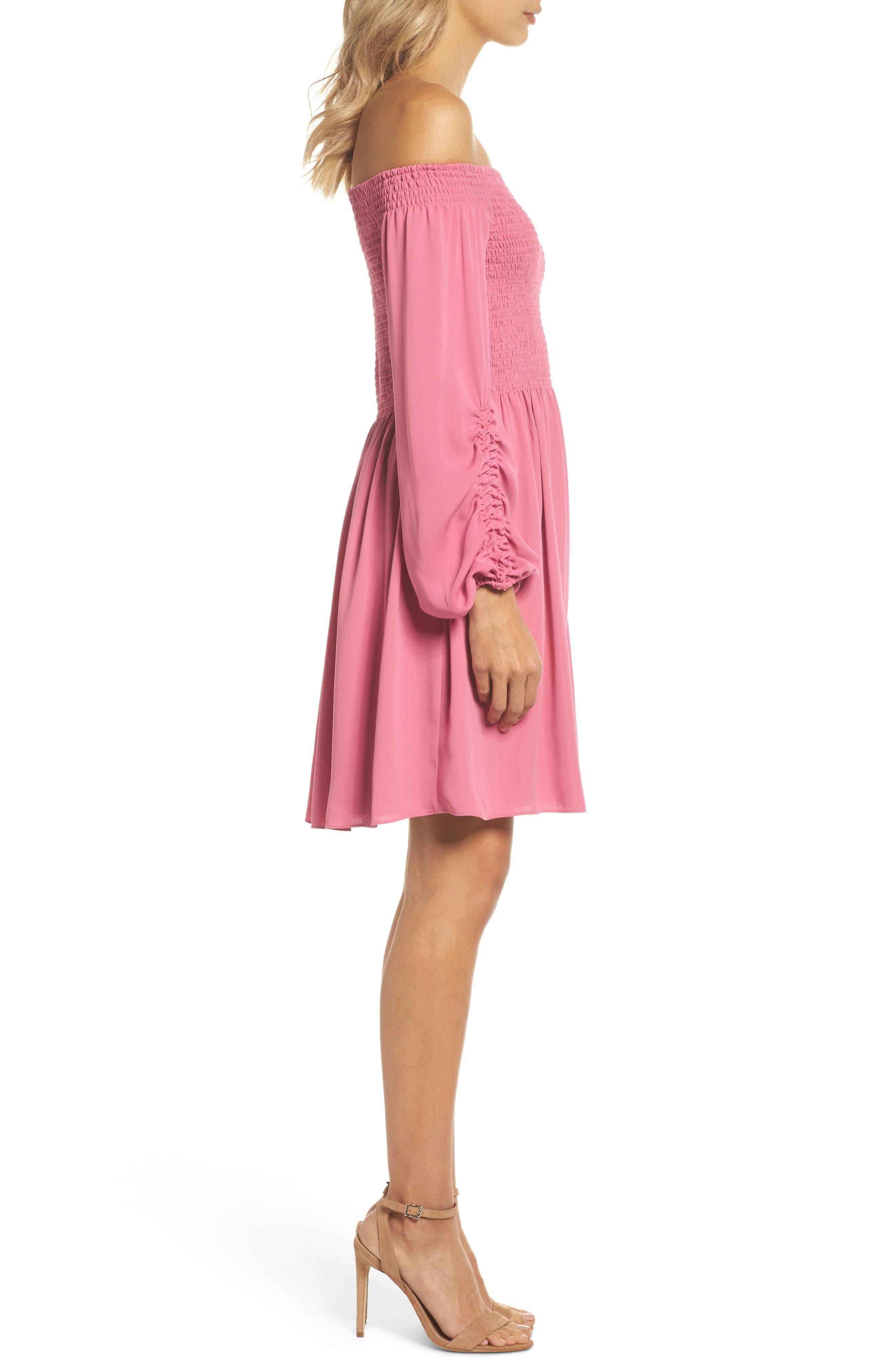 Nina Off the Shoulder Dress,                             Alternate thumbnail 6, color,