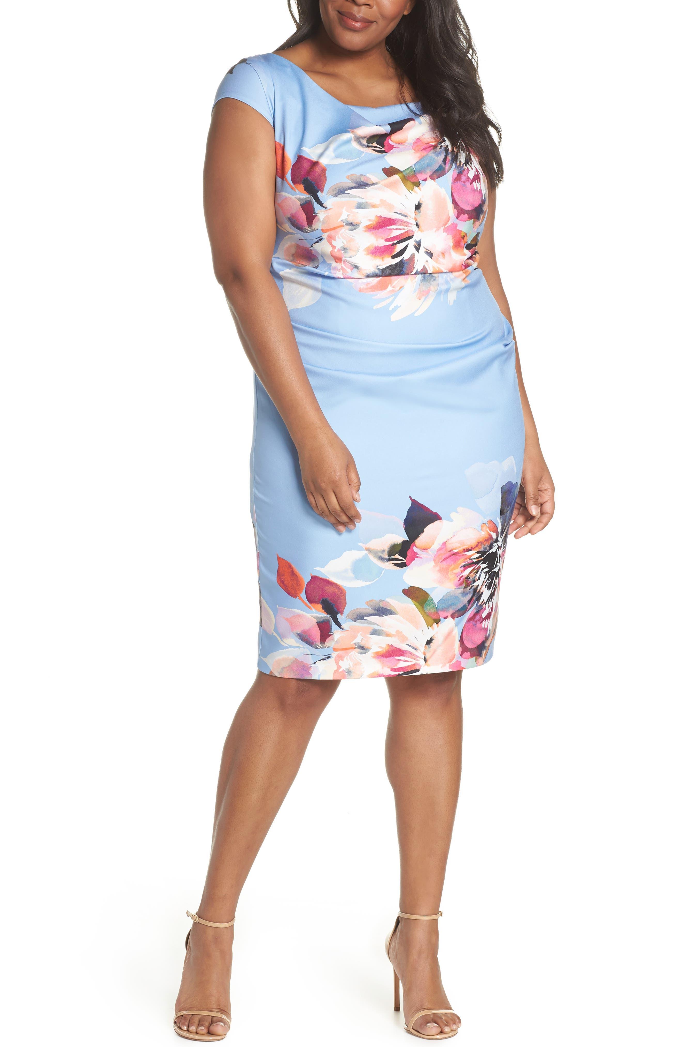 Magnolia Drape Front Sheath Dress,                             Main thumbnail 1, color,                             461