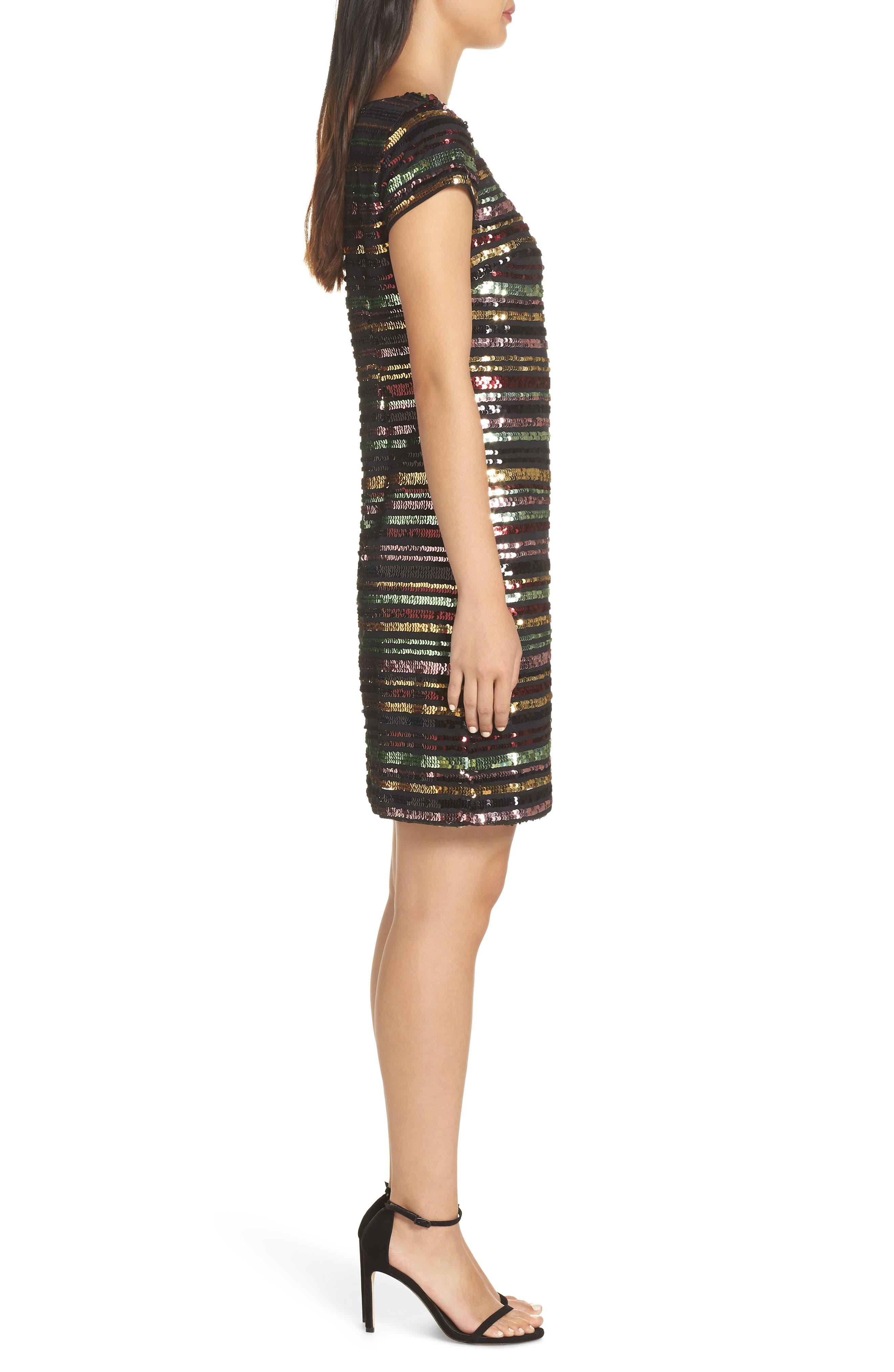 Sequin Stripe Dress,                             Alternate thumbnail 3, color,                             SEQUIN PRINT
