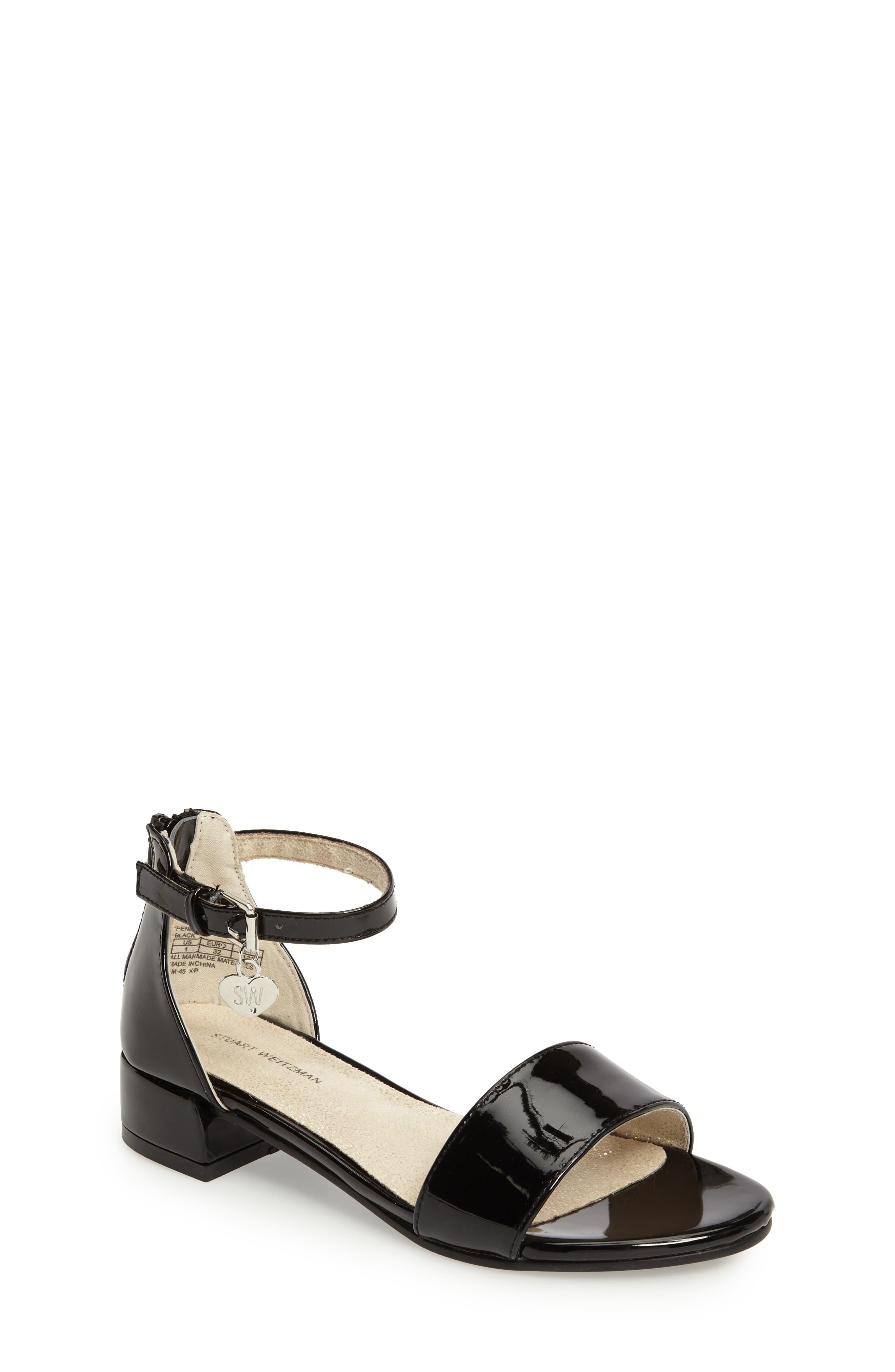 STUART WEITZMAN Penelope Nola Sandal, Main, color, BLACK FAUX PATENT