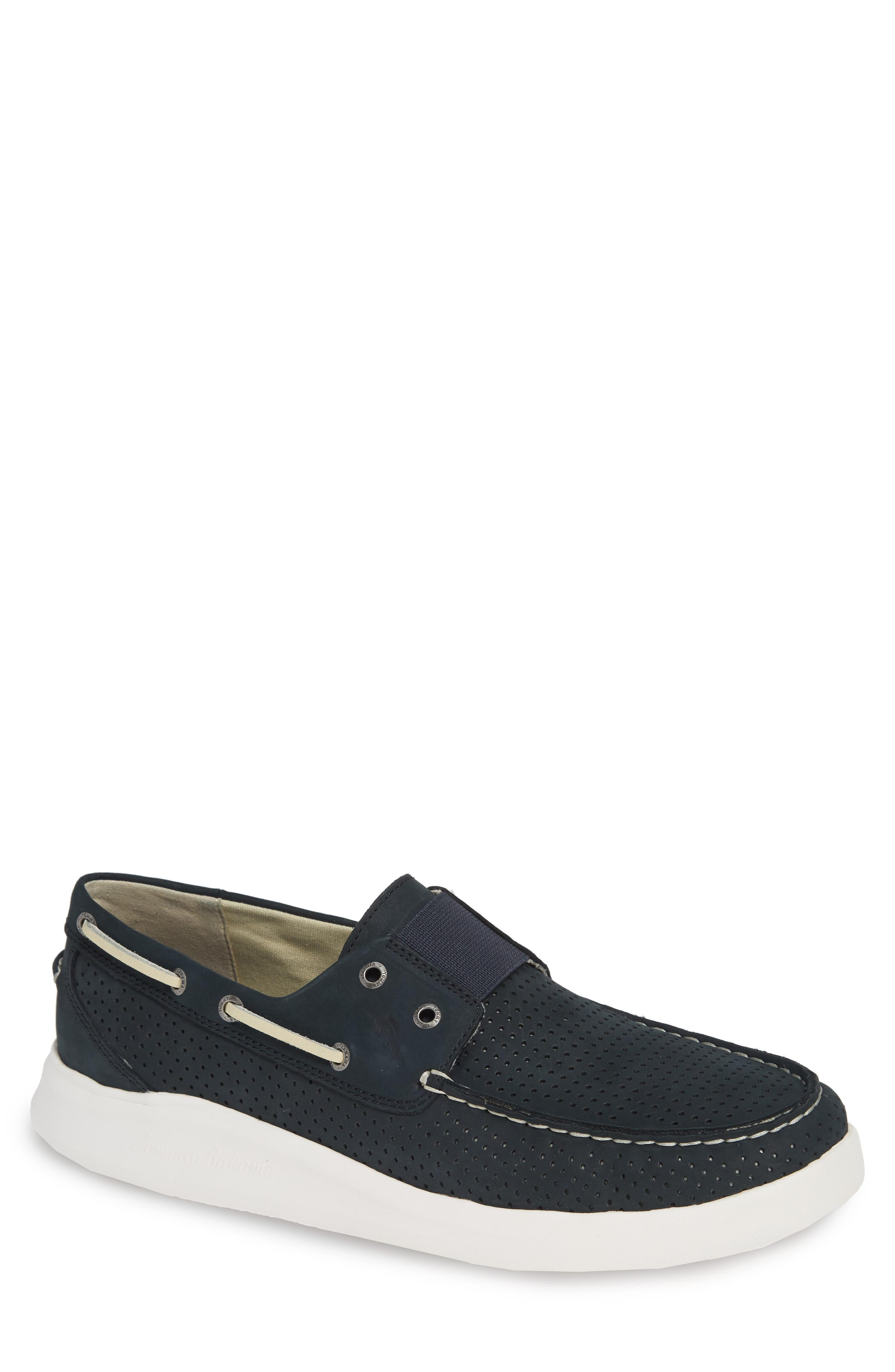 Relaxology<sup>®</sup> Aeonian Boat Shoe,                         Main,                         color, NAVY NUBUCK