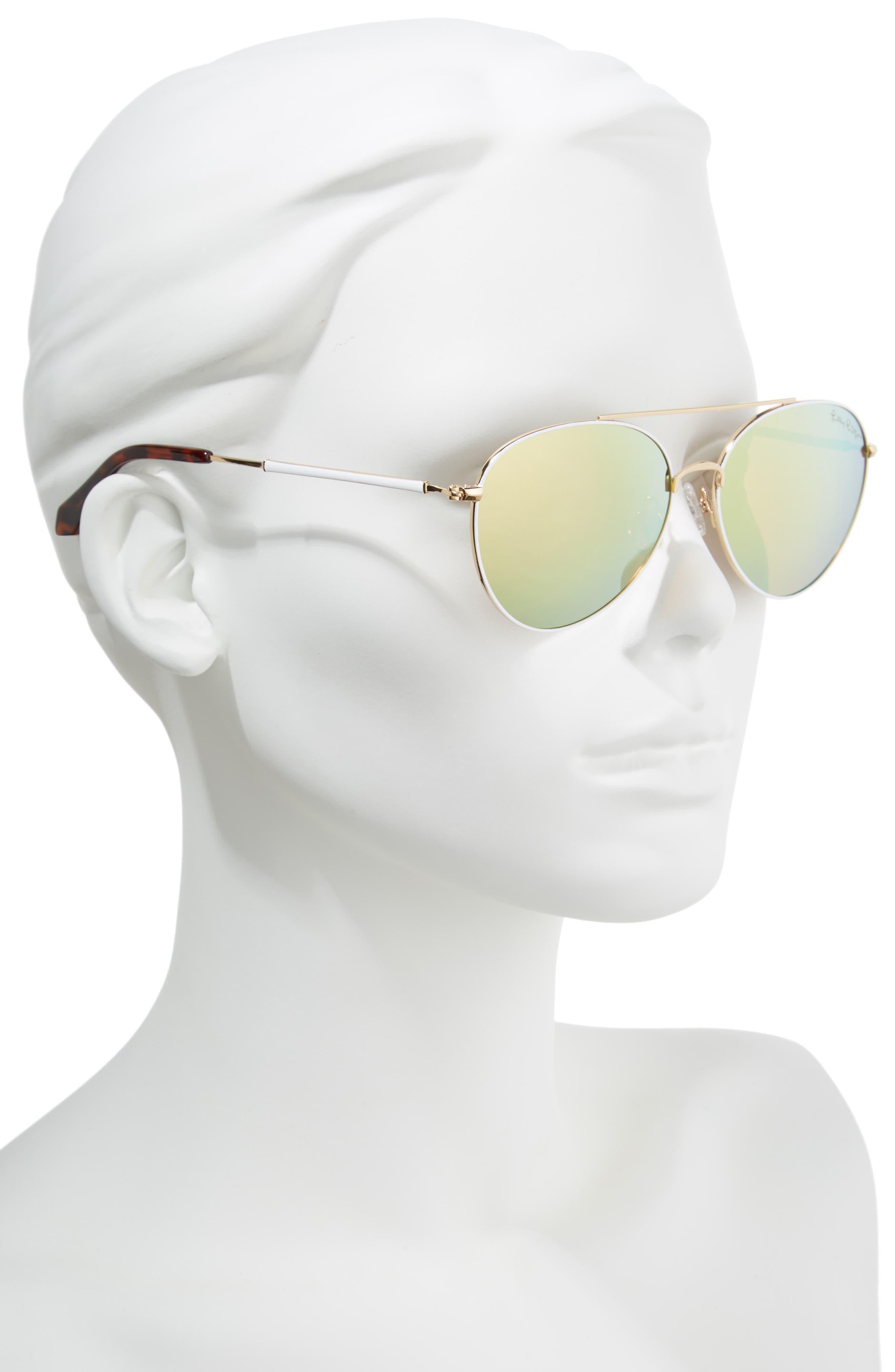 Isabelle 56mm Polarized Metal Aviator Sunglasses,                             Alternate thumbnail 2, color,                             GOLD/ GOLD