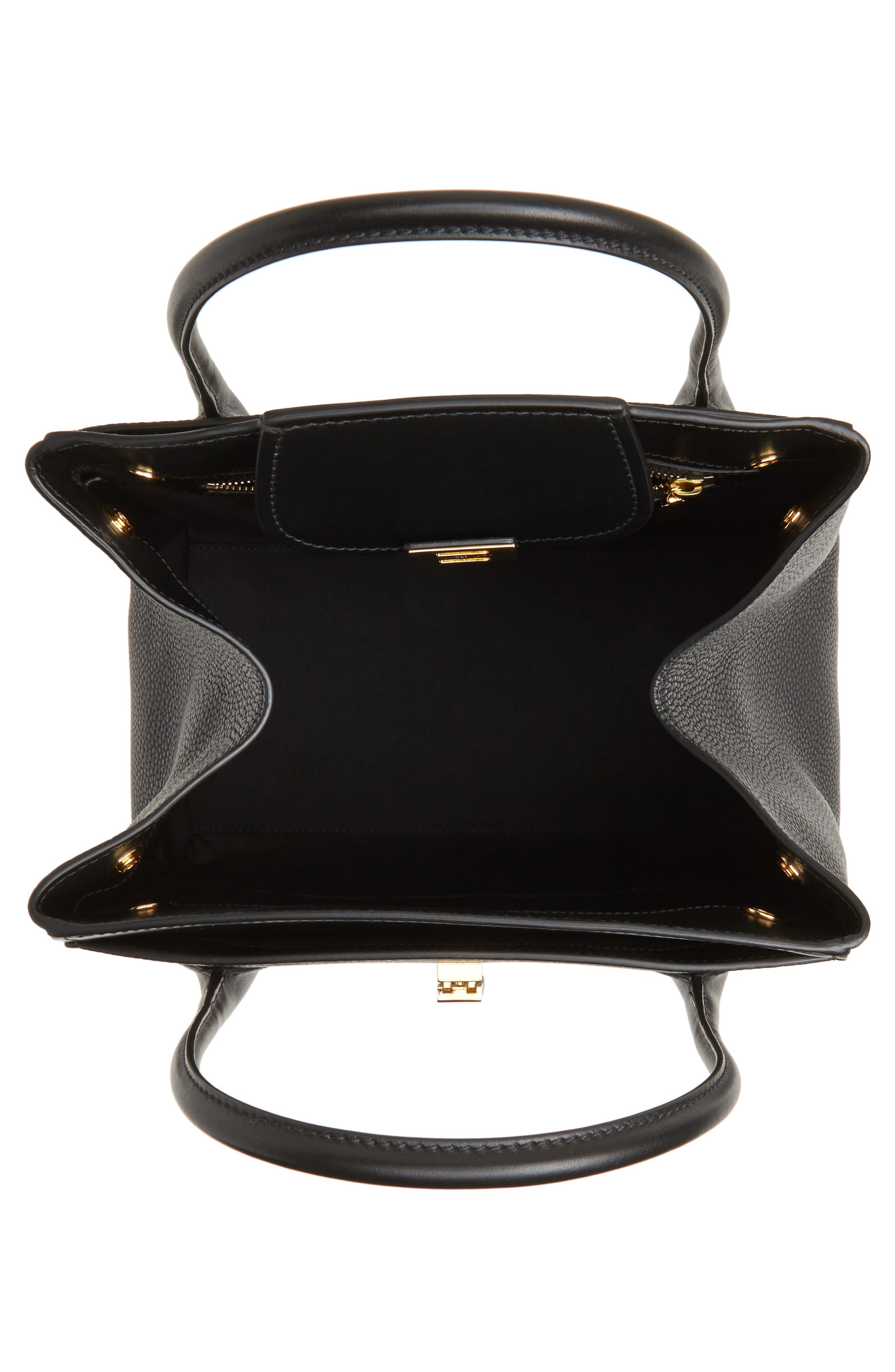Large Bancroft Leather Top Handle Satchel,                             Alternate thumbnail 4, color,                             001
