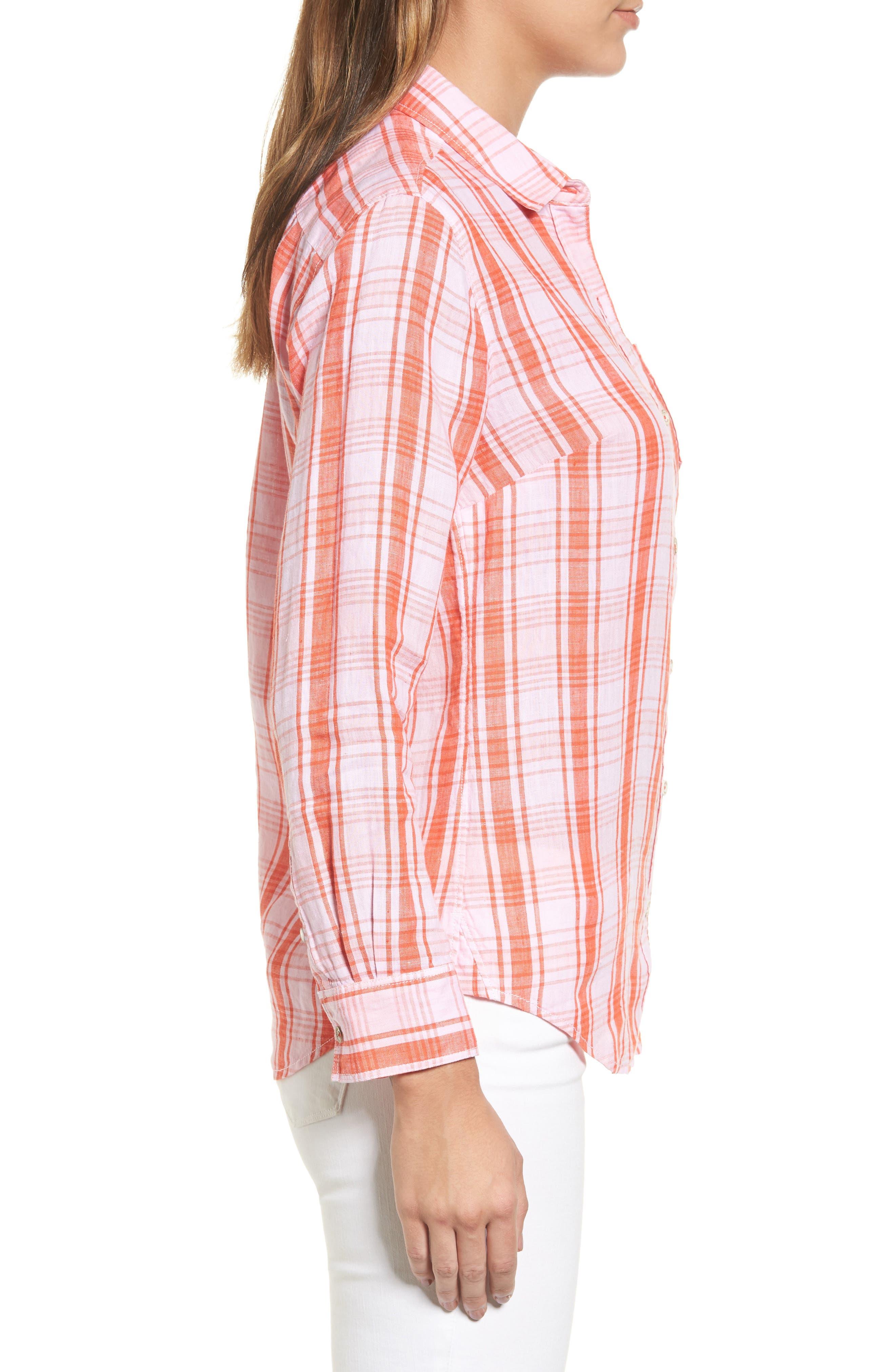 Athena Plaid Linen Shirt,                             Alternate thumbnail 3, color,                             800