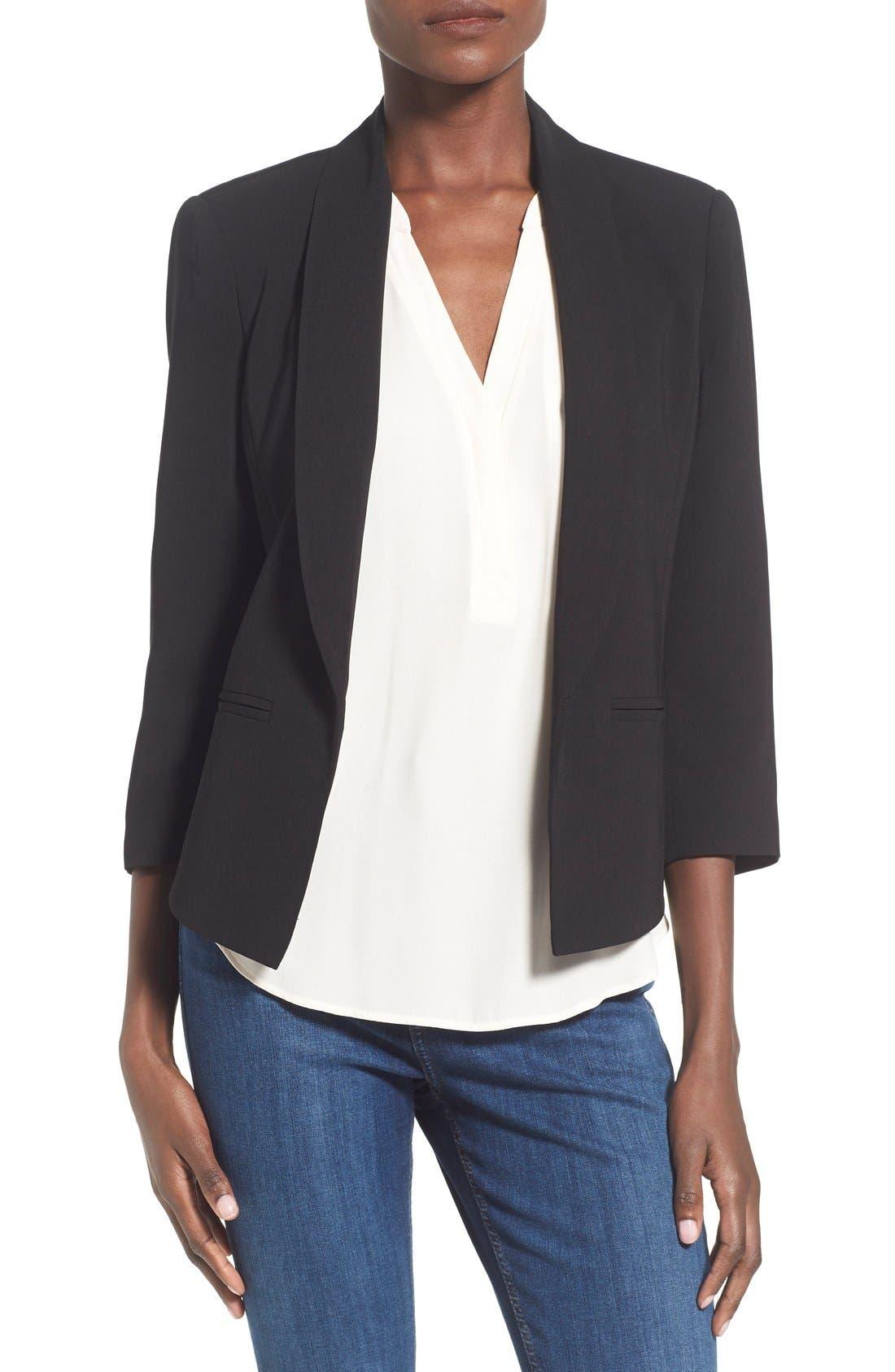 'Curve' Open Front Shawl Collar Blazer,                             Main thumbnail 1, color,                             BLACK
