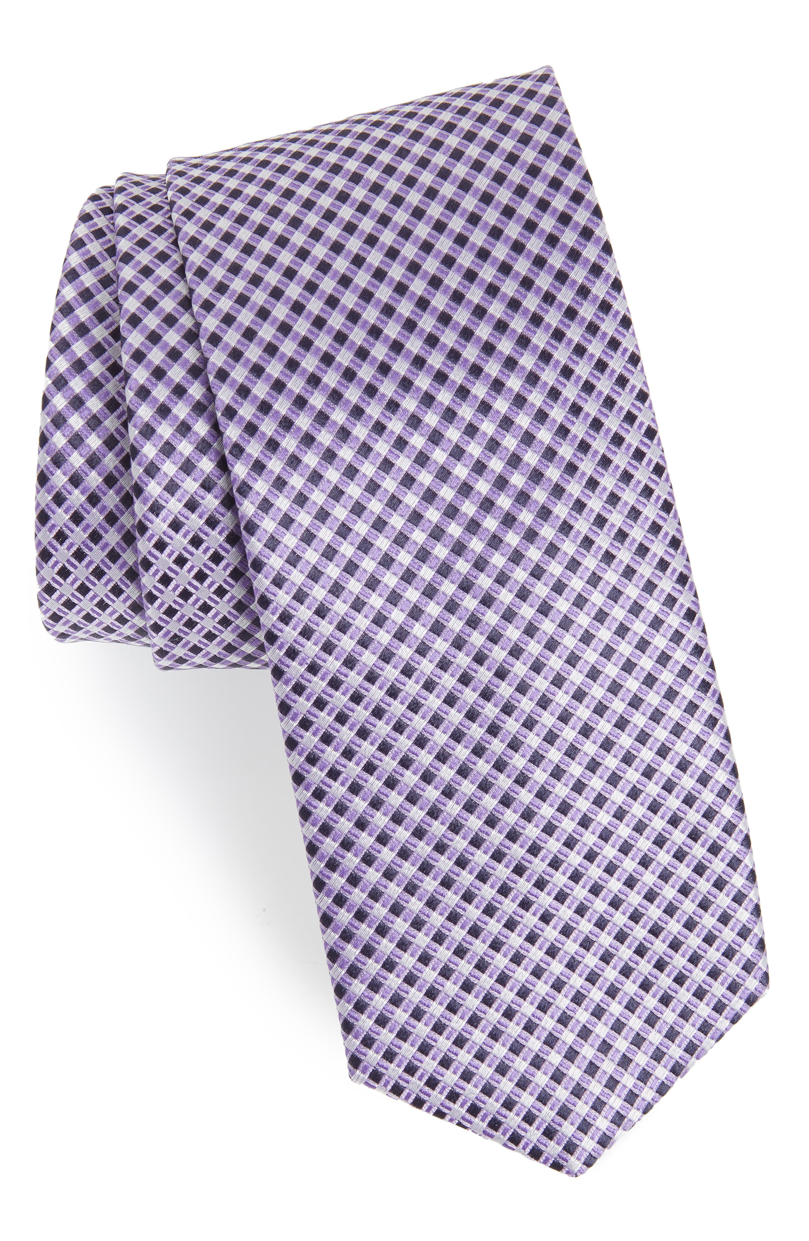 Geometric Silk Tie,                         Main,                         color, BRIGHT PURPLE