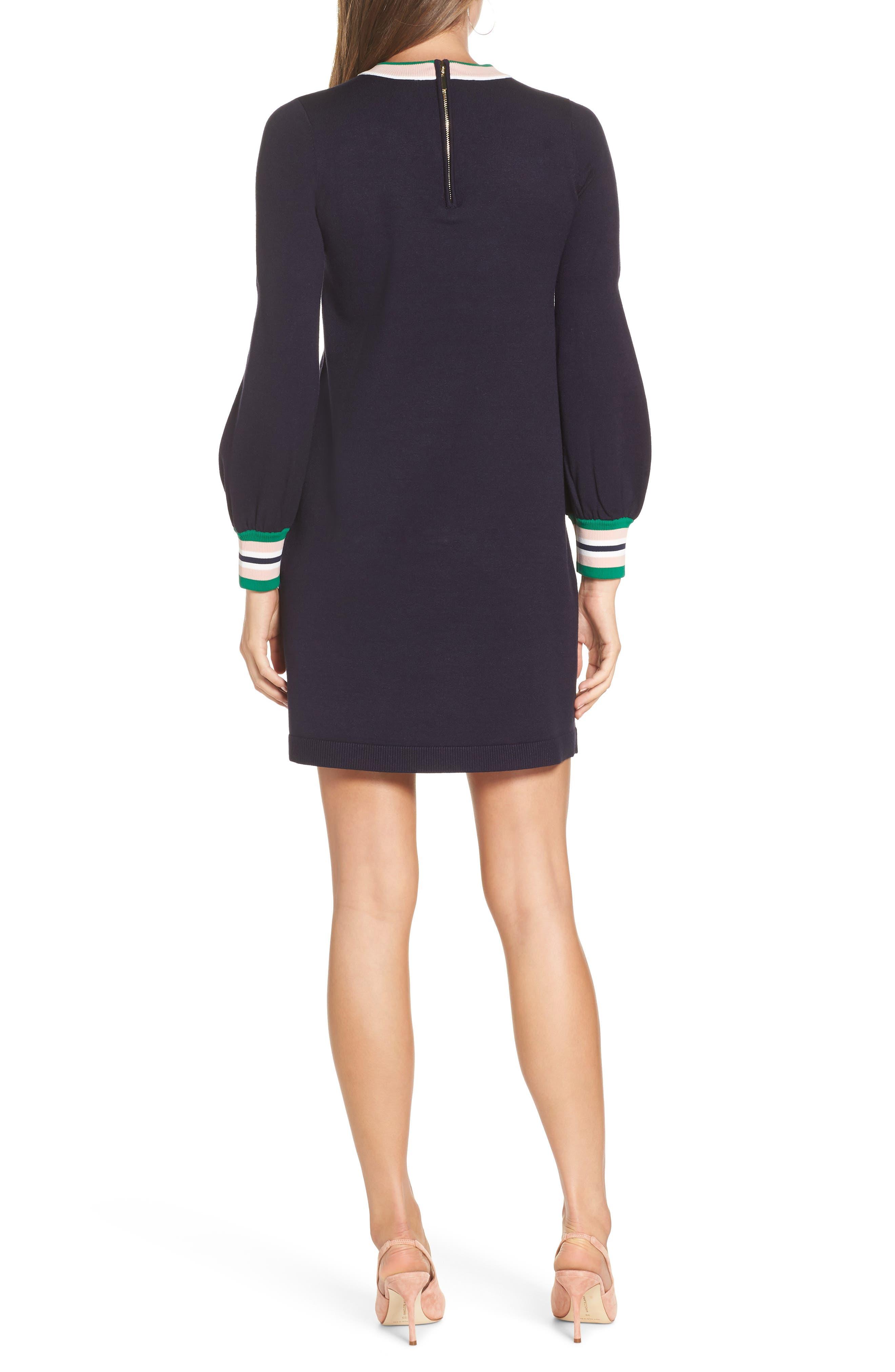 1901,                             Varsity Stripe Sweater Dress,                             Alternate thumbnail 2, color,                             NAVY