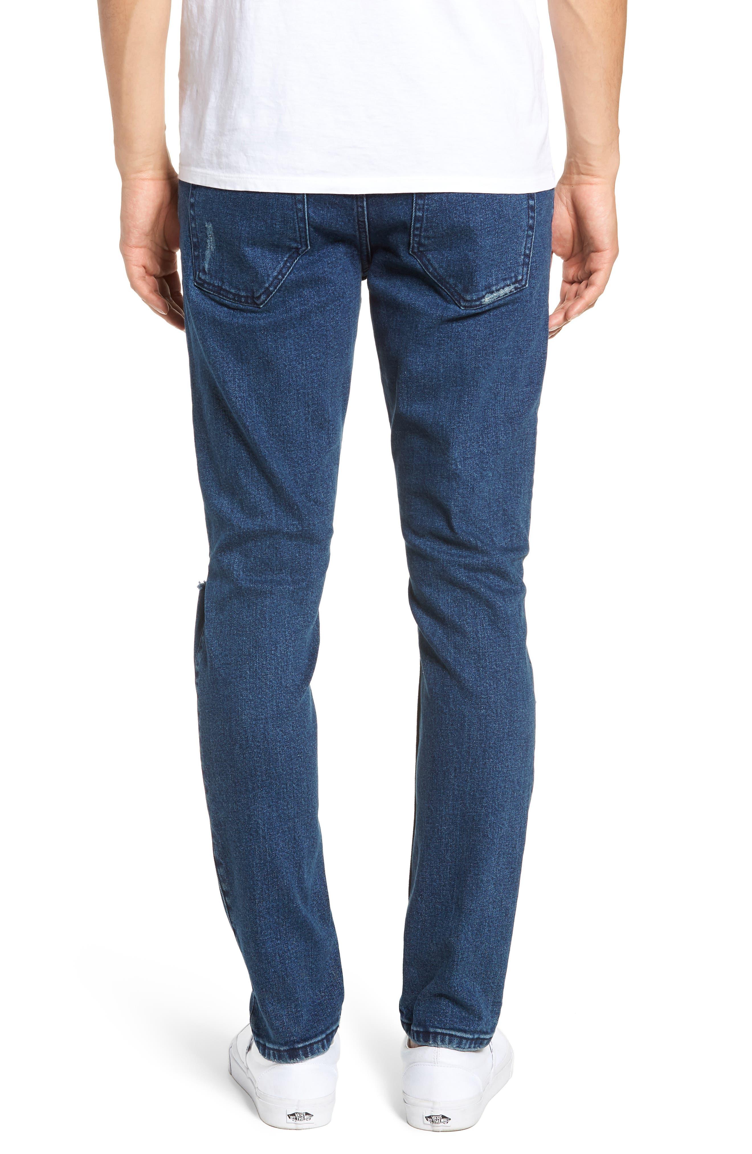 Clark Slim Straight Leg Jeans,                             Alternate thumbnail 2, color,                             WORN ASH BLUE DAMAGED
