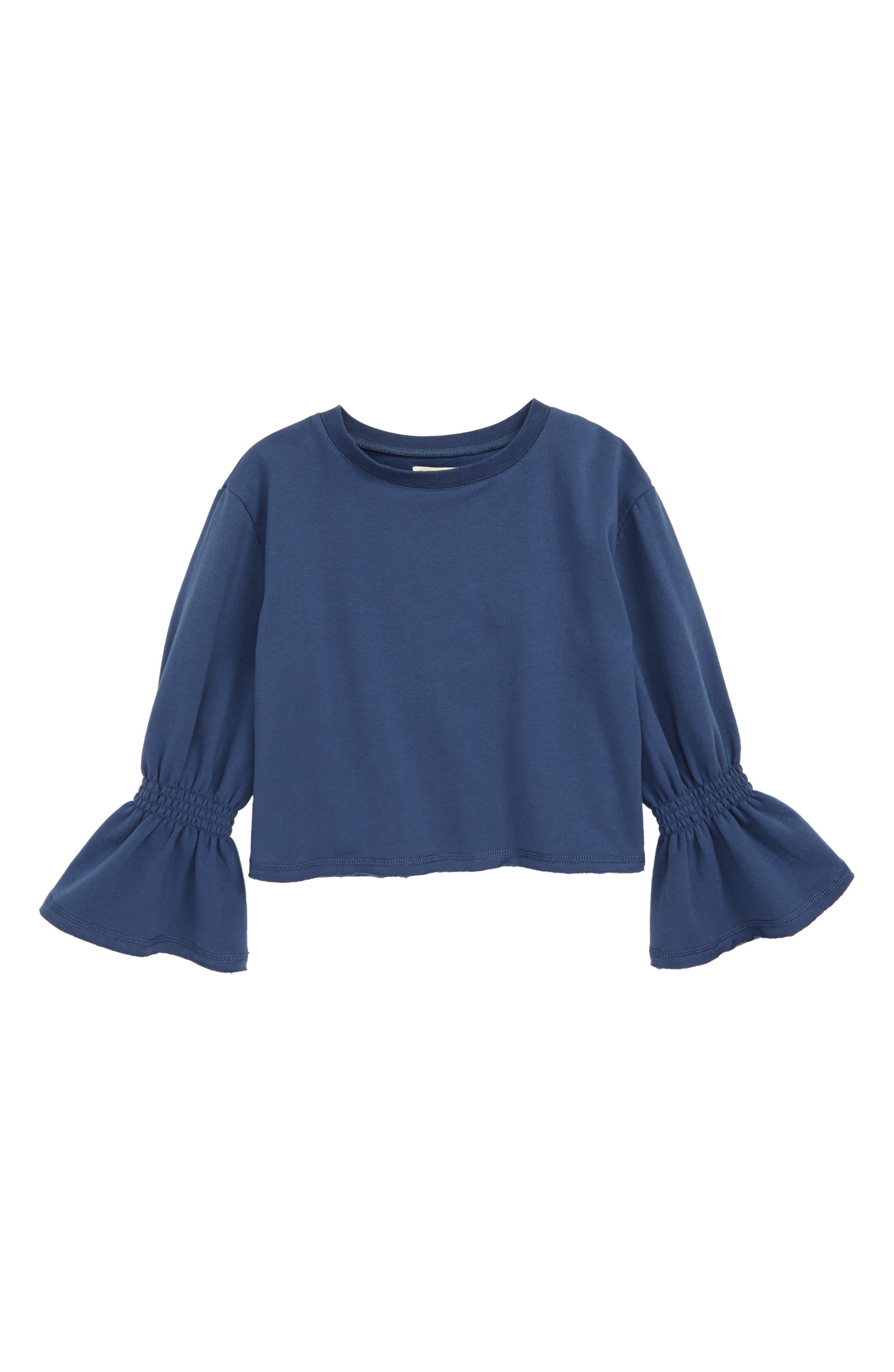 Fleece Flare Sleeve Top, Main, color, NAVY DENIM