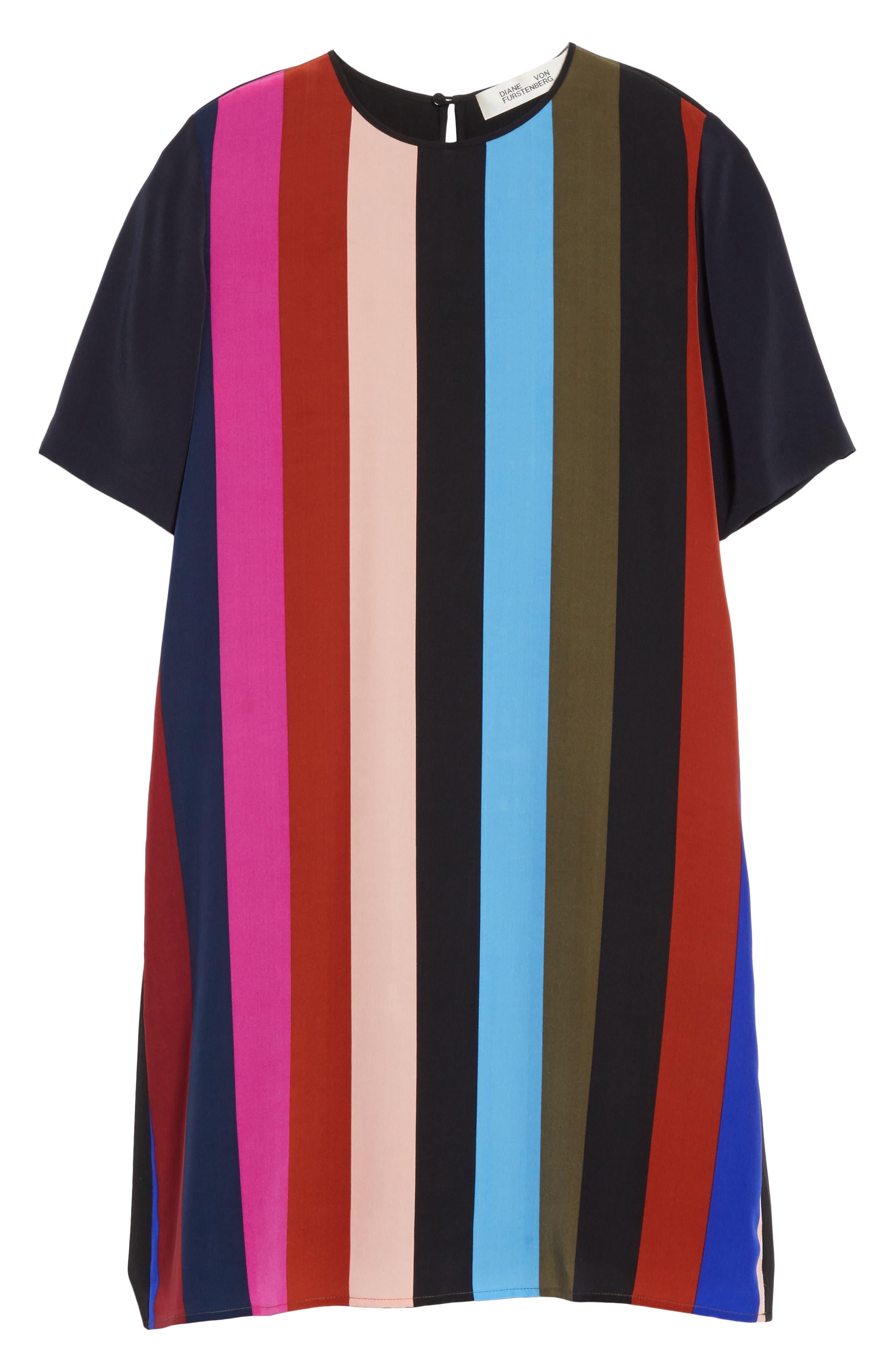 Diane von Furstenberg Stripe Silk Shift Dress,                             Alternate thumbnail 5, color,                             005