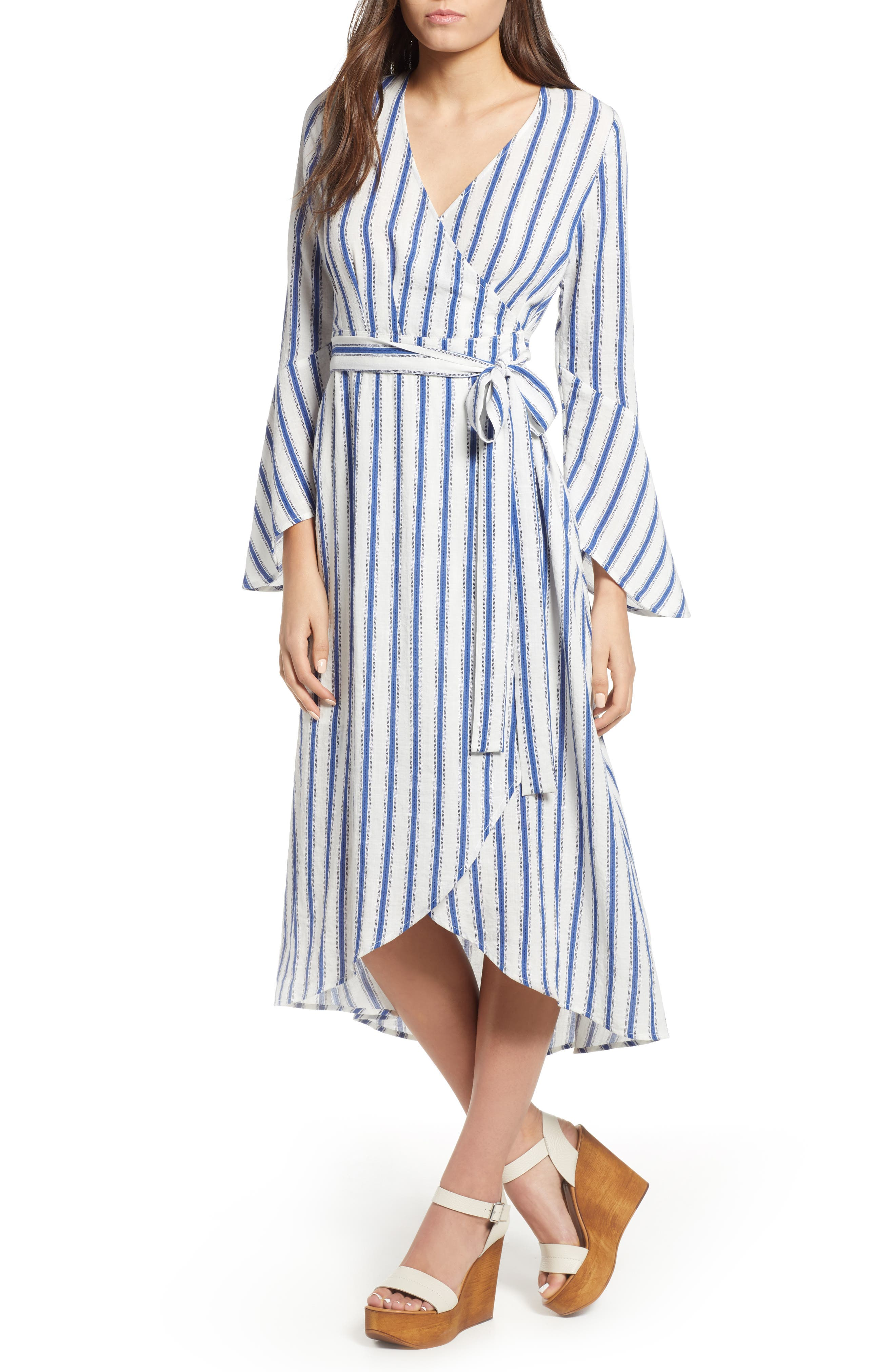 Stripe Flared Sleeve Wrap Dress,                             Main thumbnail 1, color,                             400