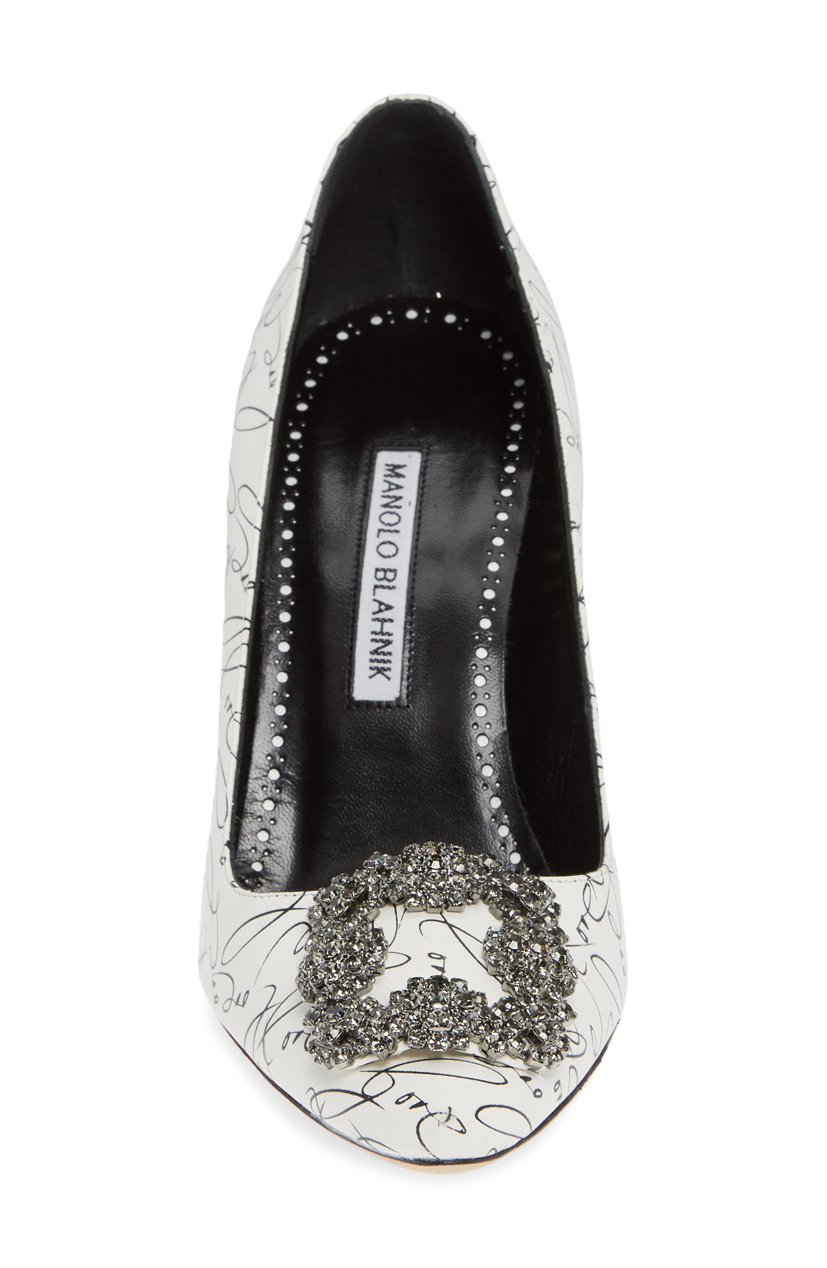 MANOLO BLAHNIK,                             Decade of Love Hangisi Anniversary Embellished Pump,                             Alternate thumbnail 4, color,                             WHITE LEATHER
