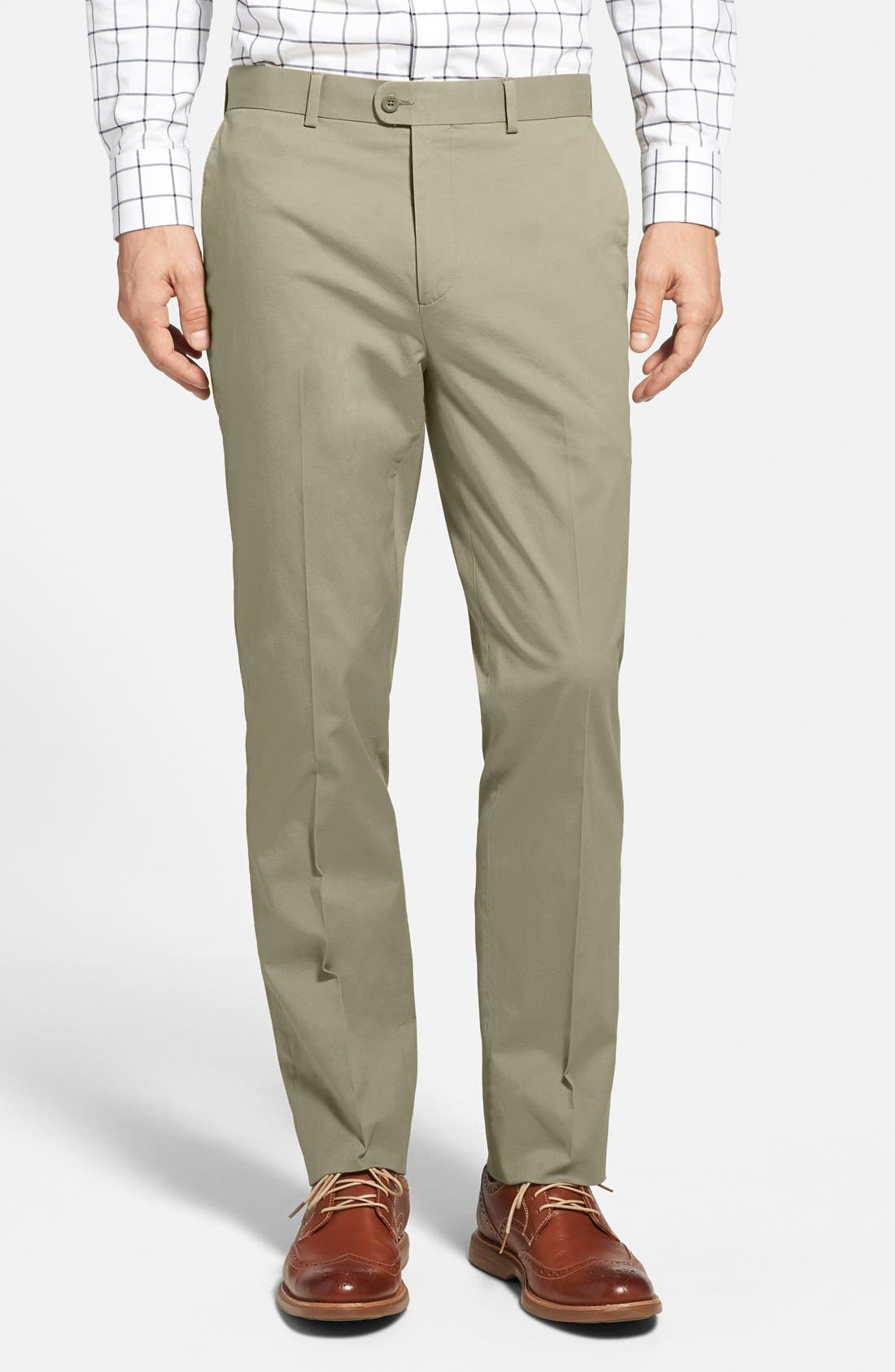 Washed Trim Fit Stretch Cotton Trousers,                             Main thumbnail 5, color,