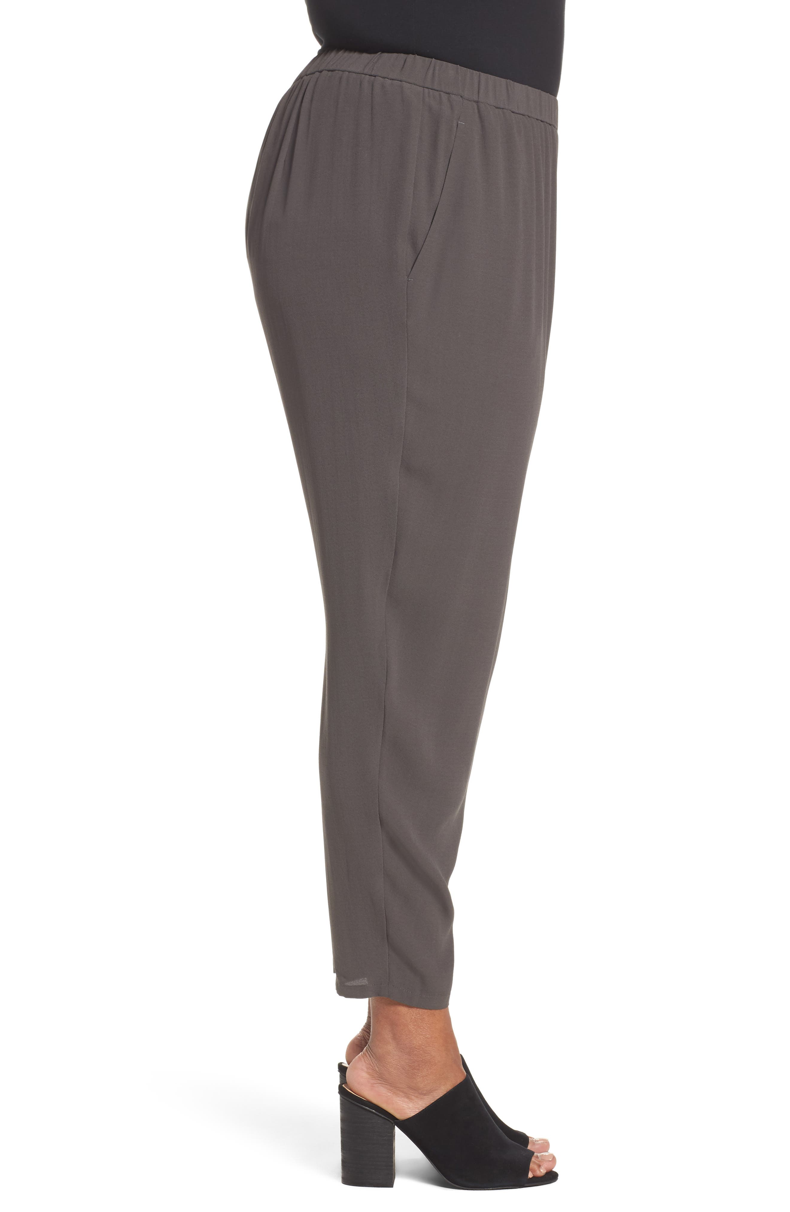 Silk Georgette Crepe Ankle Pants,                             Alternate thumbnail 3, color,                             021