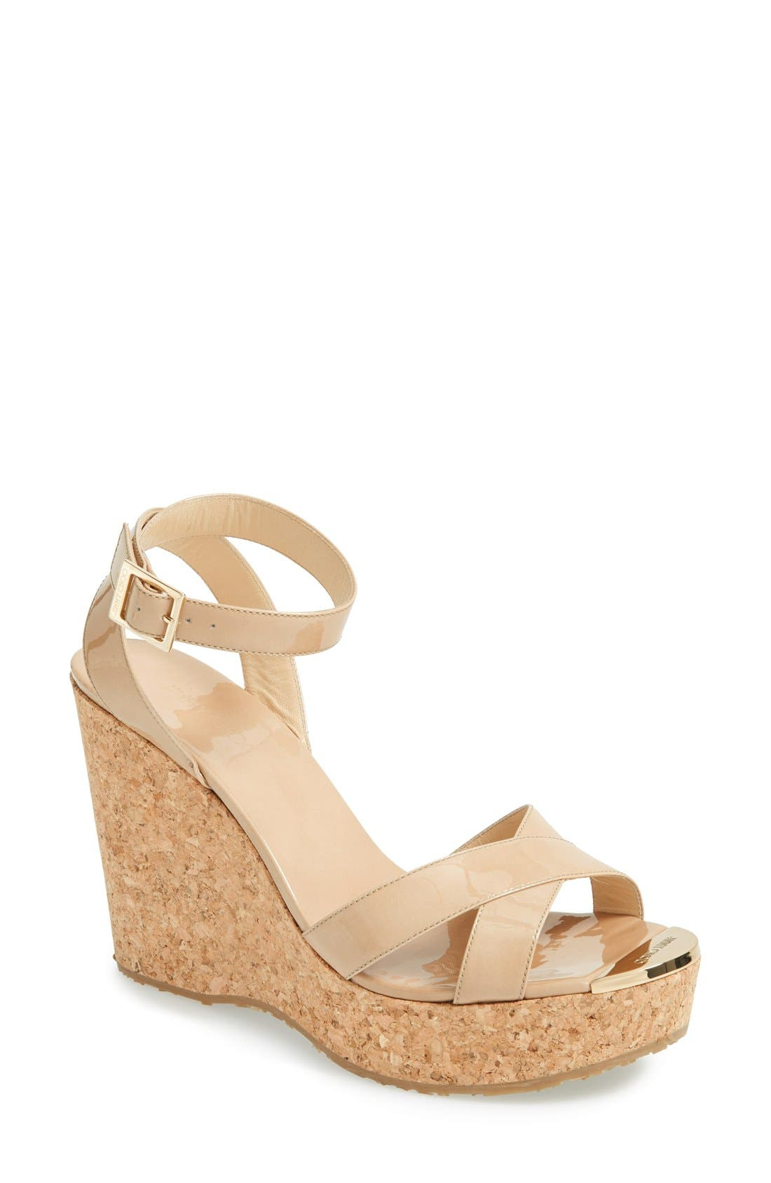JIMMY CHOO 'Papyrus' Cork Wedge Sandal, Main, color, 250