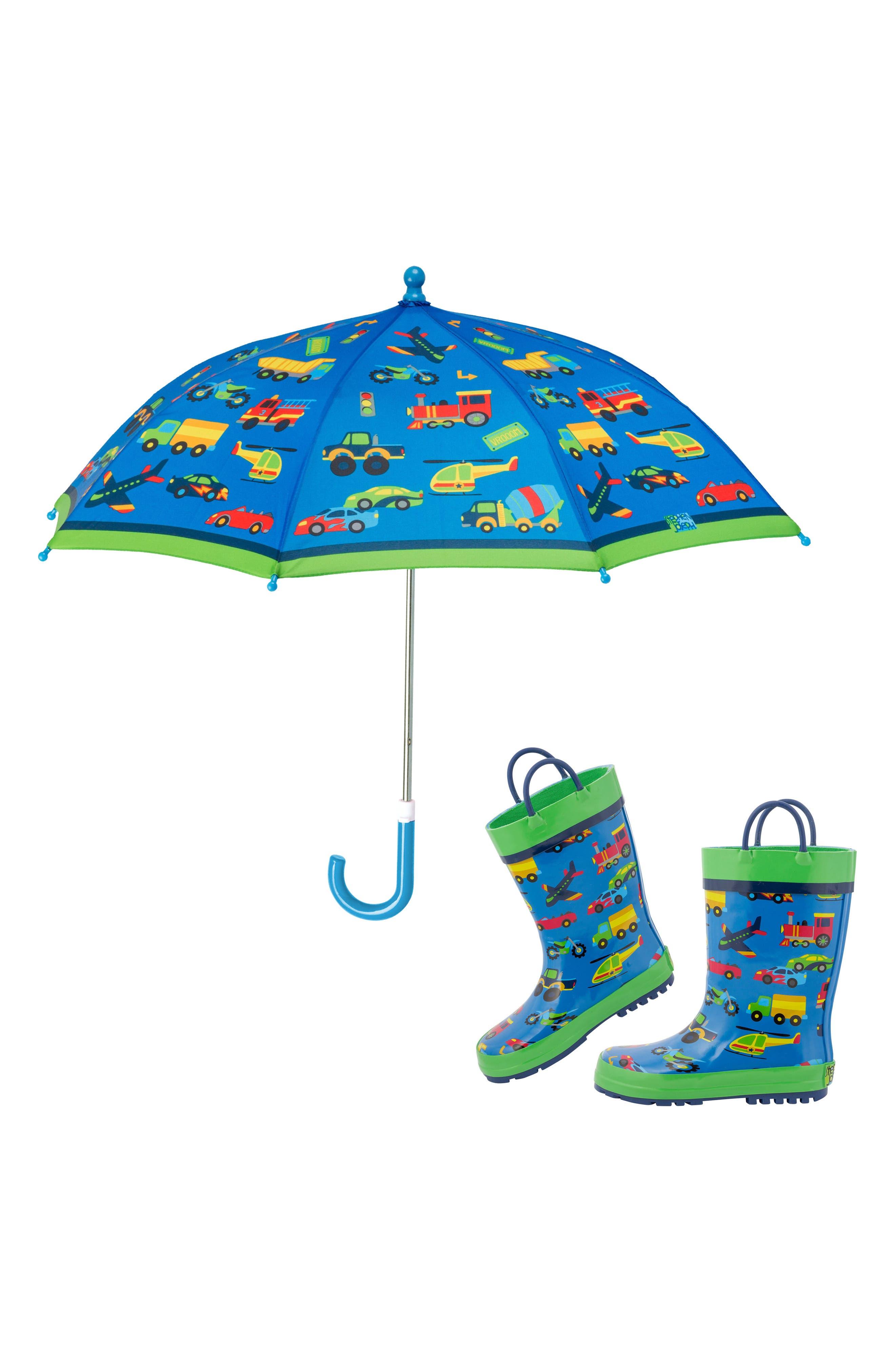 Transportation Rain Boots & Umbrella Set, Main, color, TRANSPORTATION
