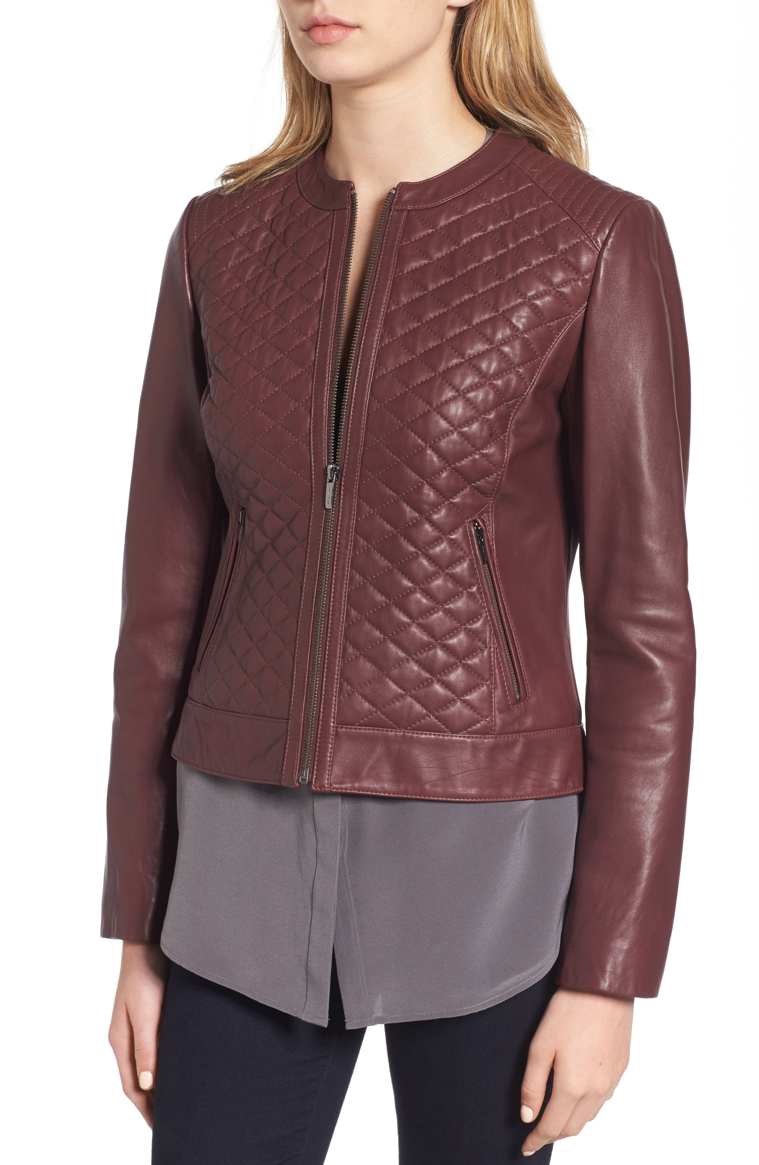 COLE HAAN,                             Quilted Leather Moto Jacket,                             Alternate thumbnail 4, color,                             602